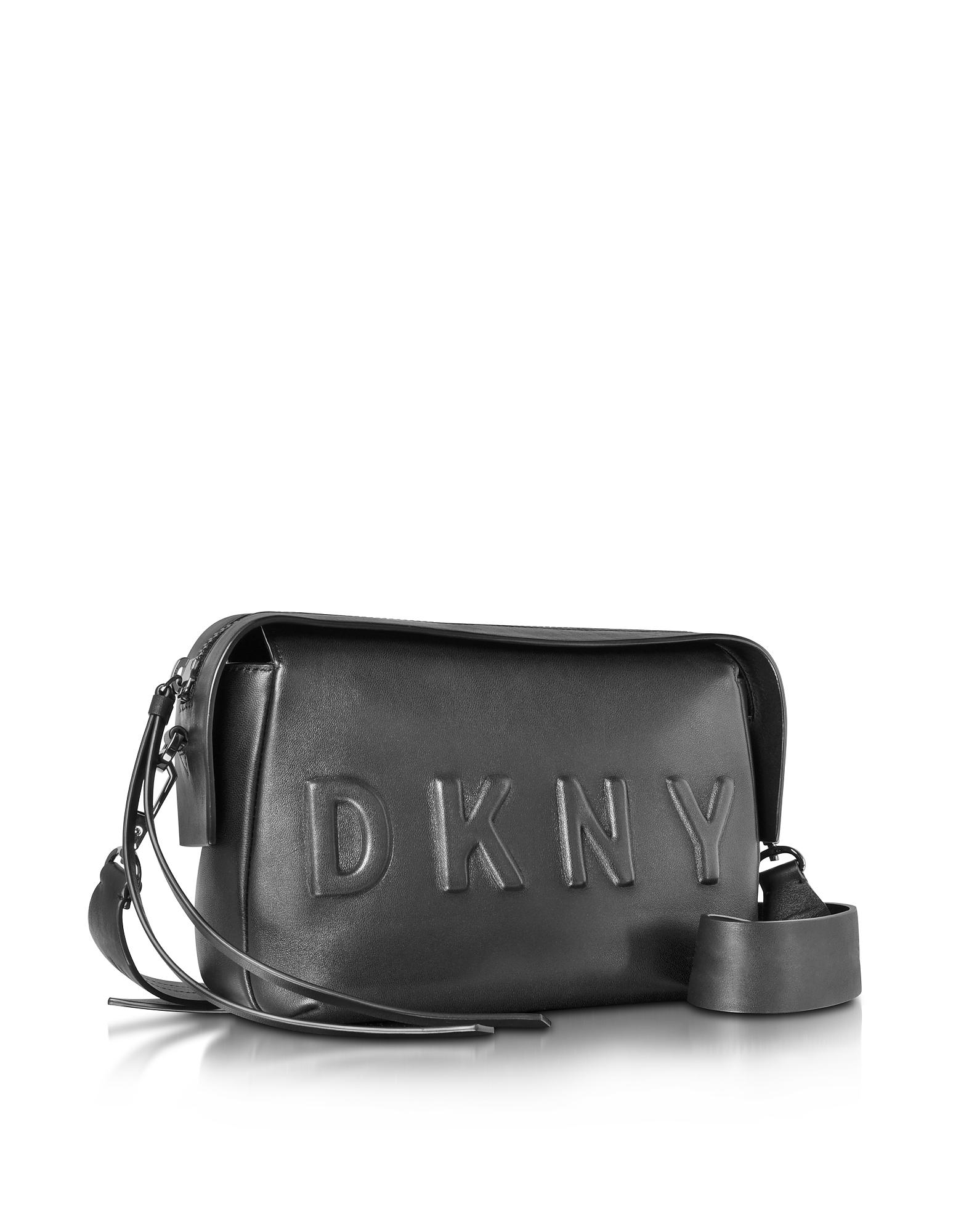 Lyst - DKNY Debossed Logo Black black Leather Crossbody Bag in Black 6b5e78a485023