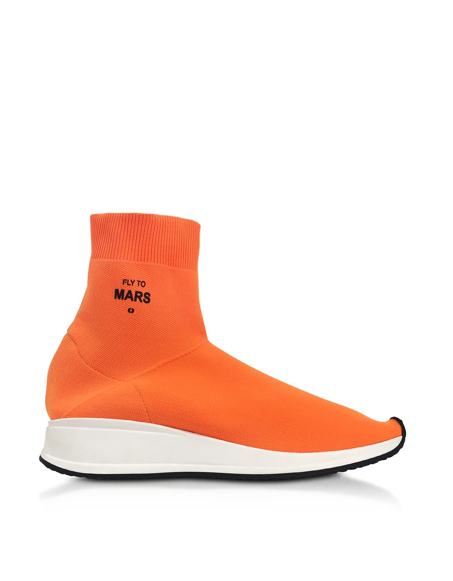Joshua Sanders. Women's Fly To Mars Neon Orange Nylon Sock Sneakers