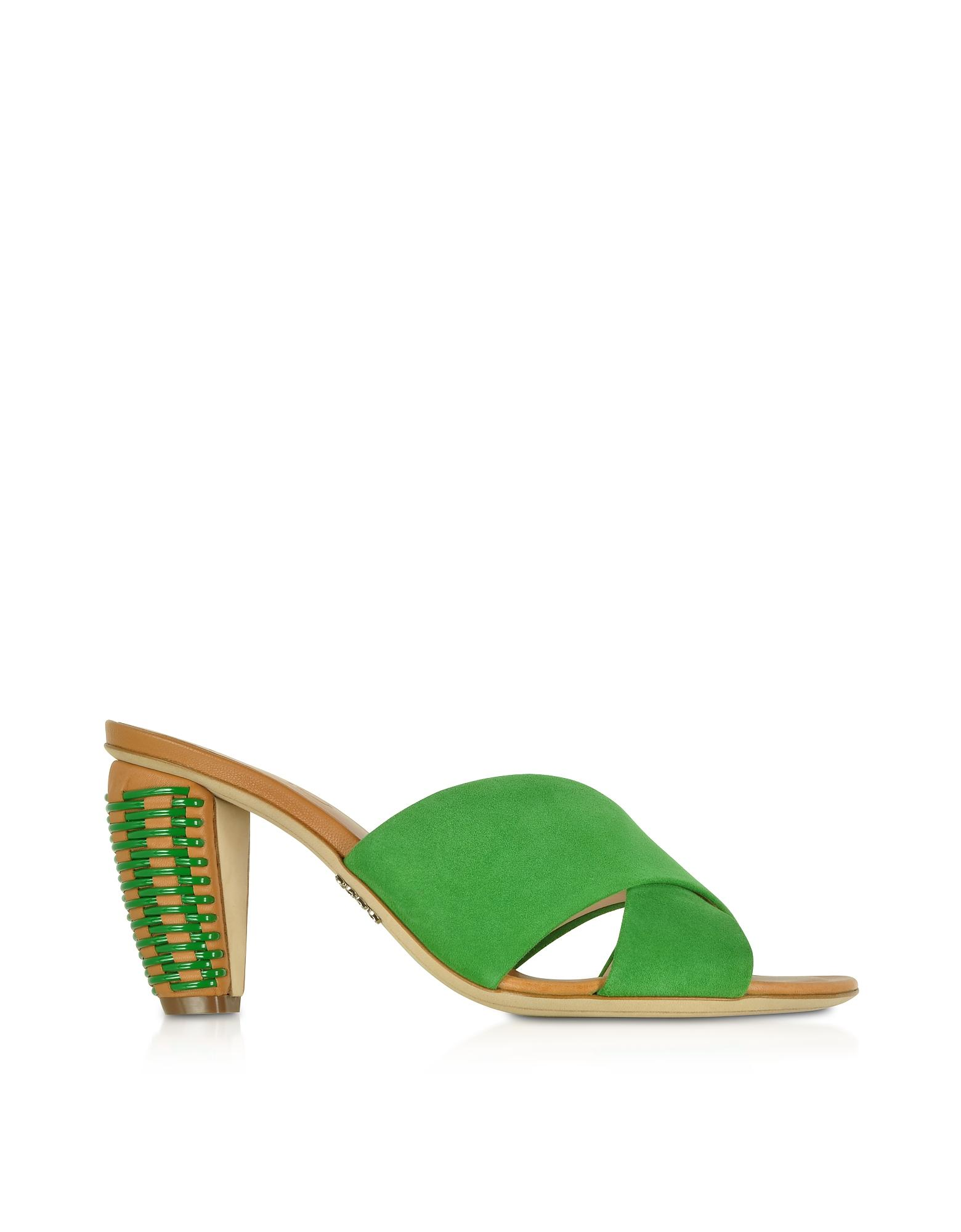 0087af04c6000e Rodo - Bright Green Suede 8mm Criss-cross Slide Sandals - Lyst. View  fullscreen