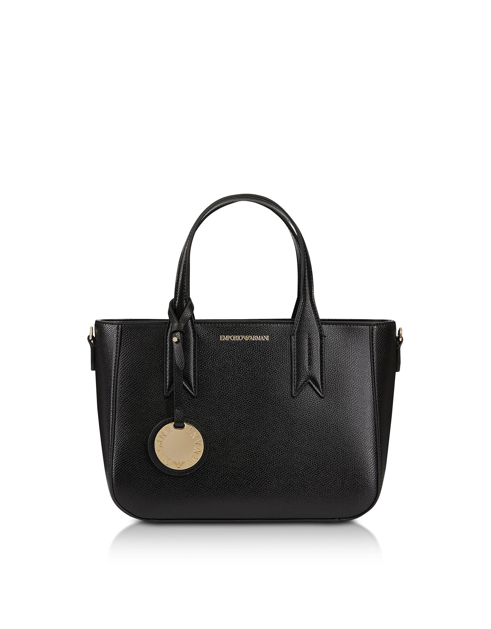 e32bba9e5 Black Embossed Eco Leather Mini Tote Bag Emporio Armani