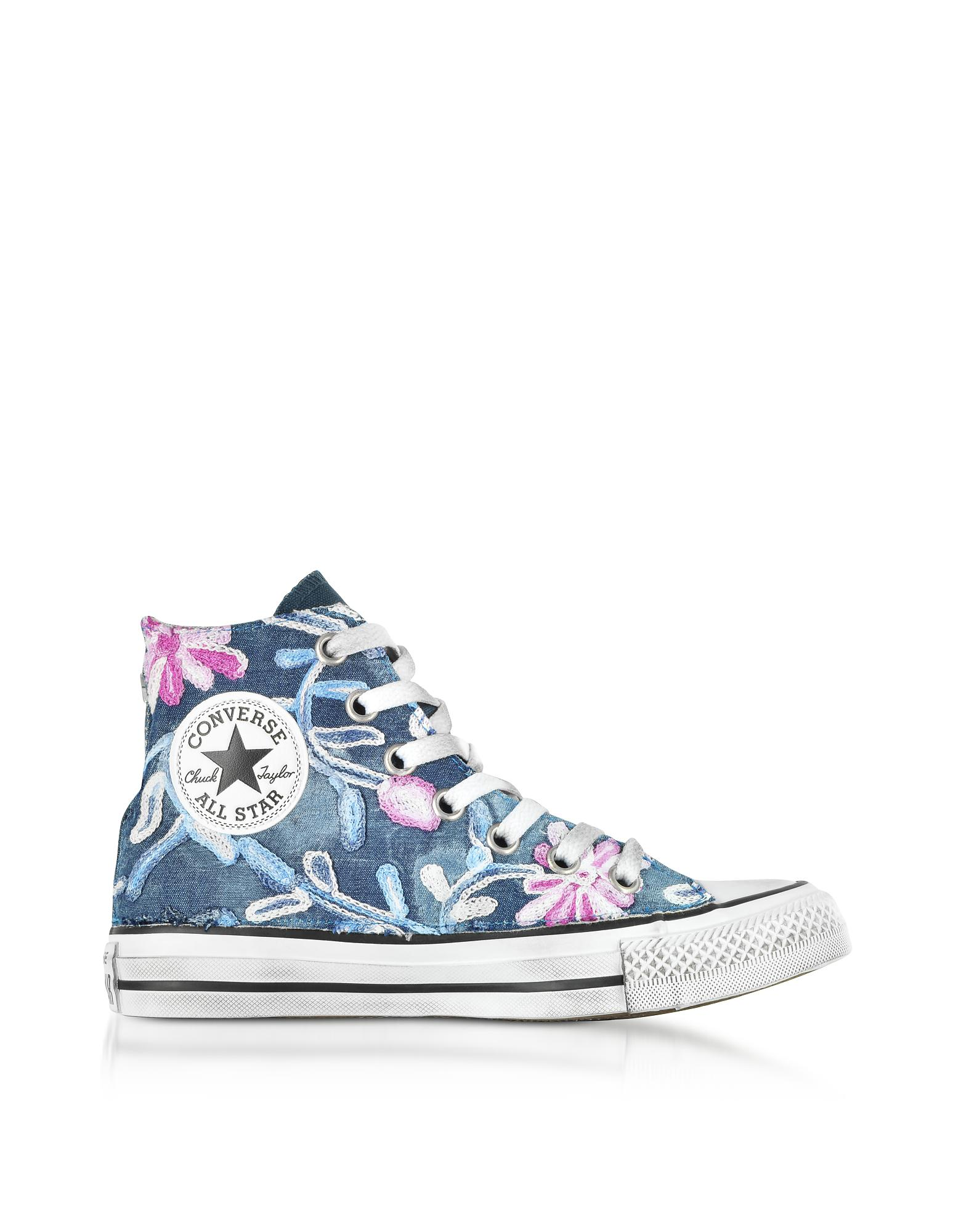 54631c055fa Lyst - Converse Chuck Taylor All Star High Vintage Denim Flowers ...