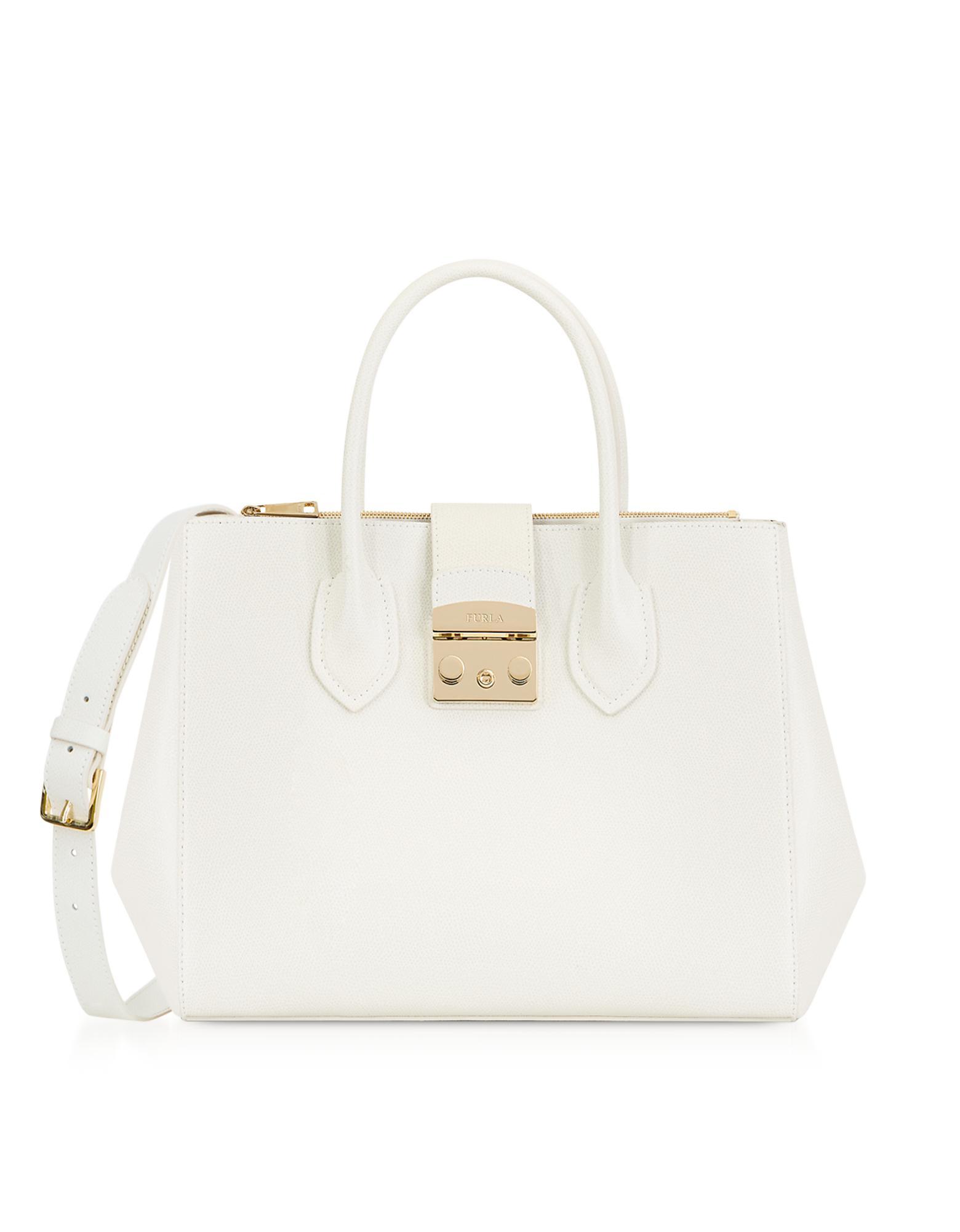 867fa4ef6e Lyst - Furla Petalo Leather Metropolis Medium Tote Bag in White