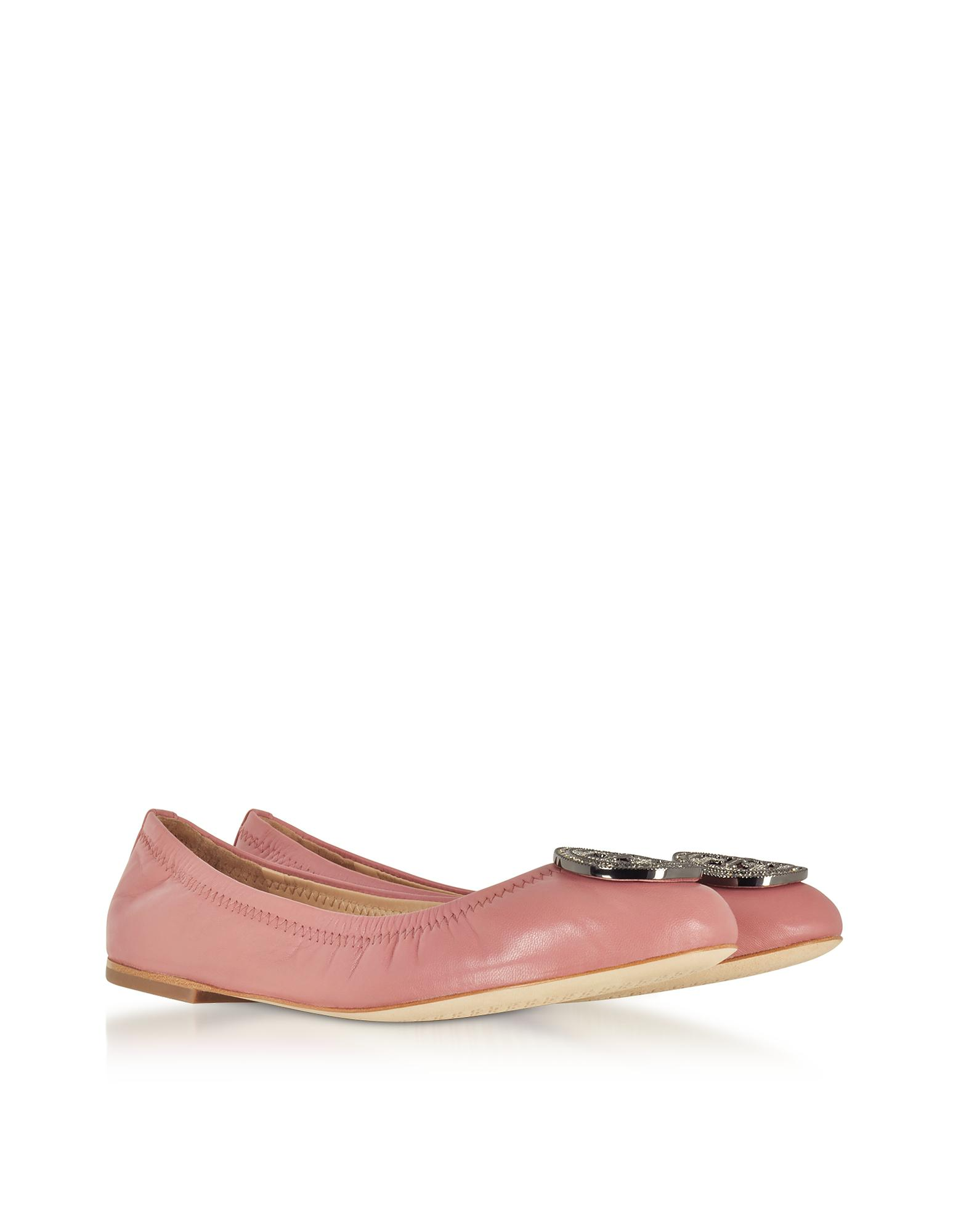 d75aba4327e4 Lyst - Tory Burch Liana Pink Magnolia Leather Ballet Flats in Pink