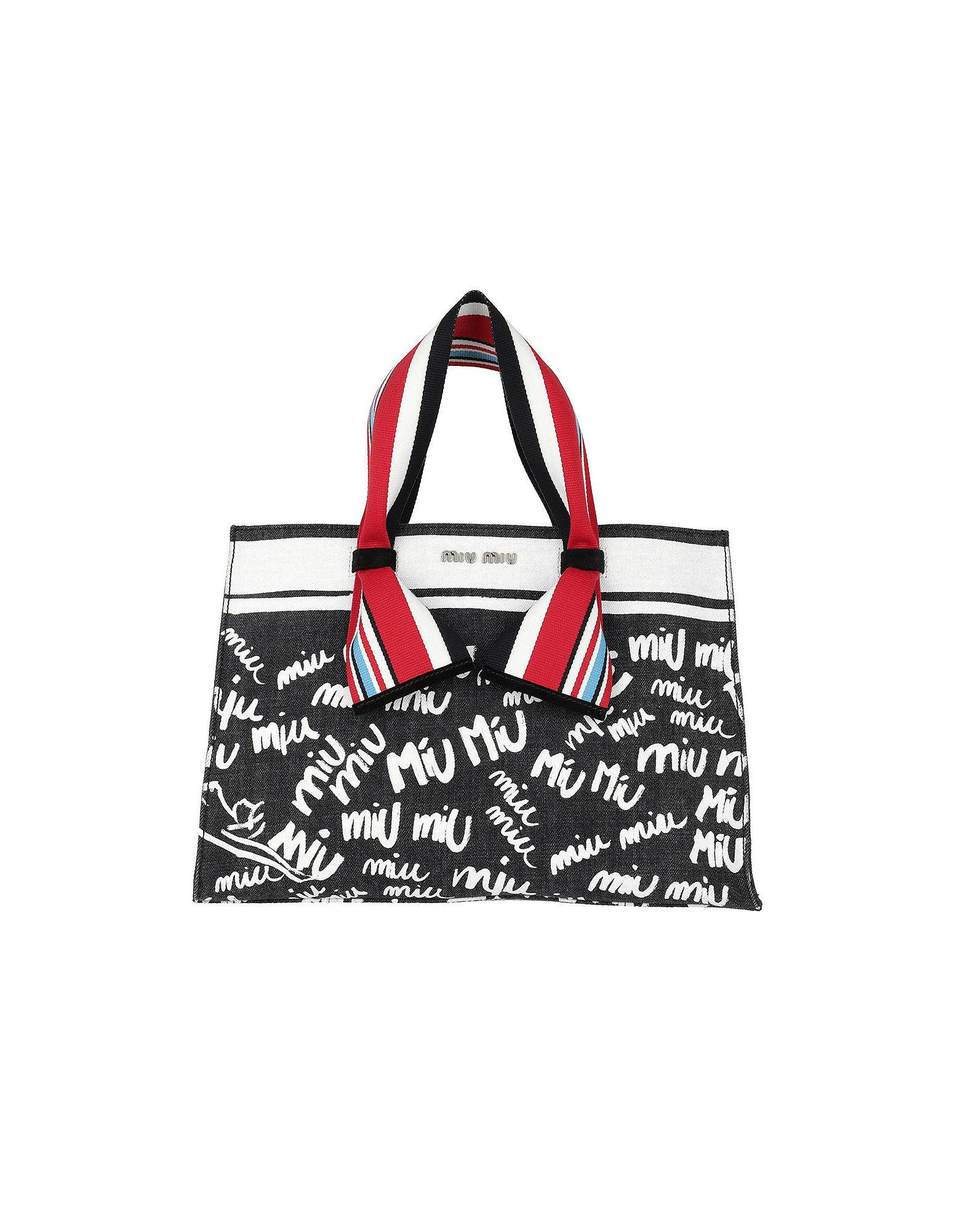 Miu Miu Denim Logo Shopping Bag Nero bianco in Gray - Lyst 4ef14a391f