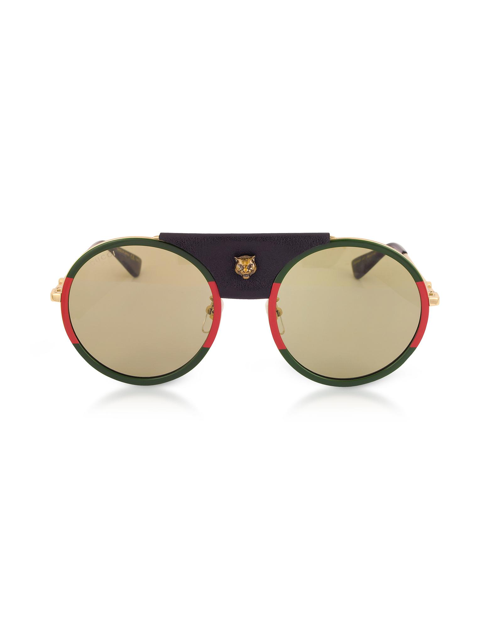 41ed7f36b1 Gucci Gg0061s Round-frame Gold Metal And Black Leather Sunglasses W ...