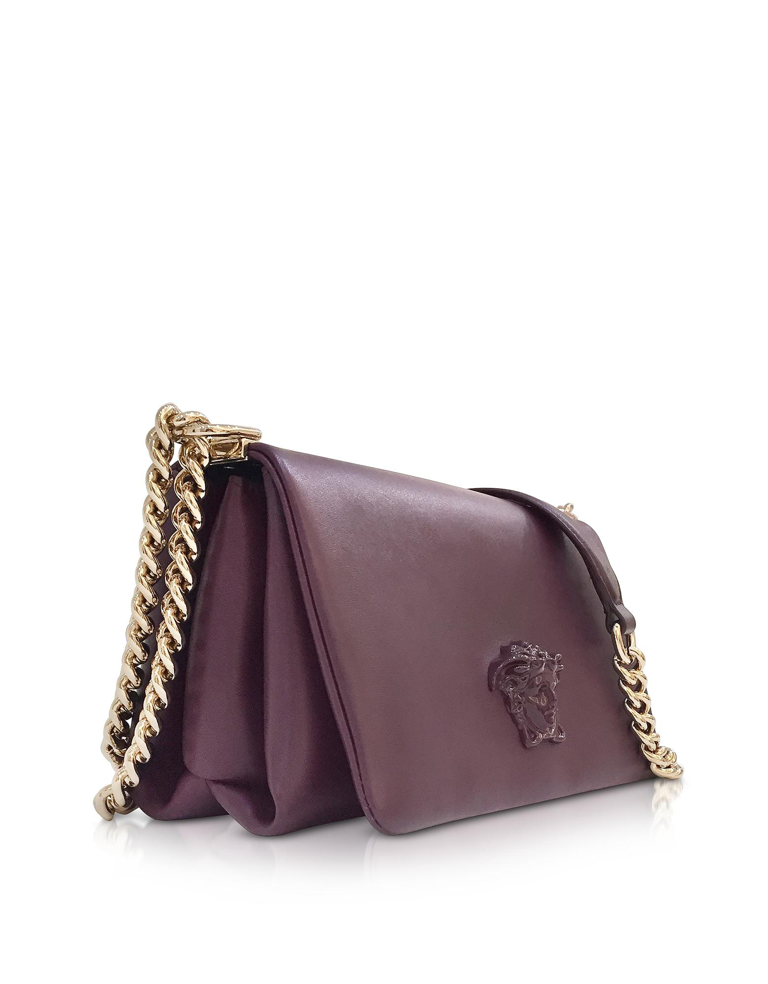 Lyst - Versace Palazzo Nappa Leather Shoulder Bag W medusa in Purple ab3aa36163849