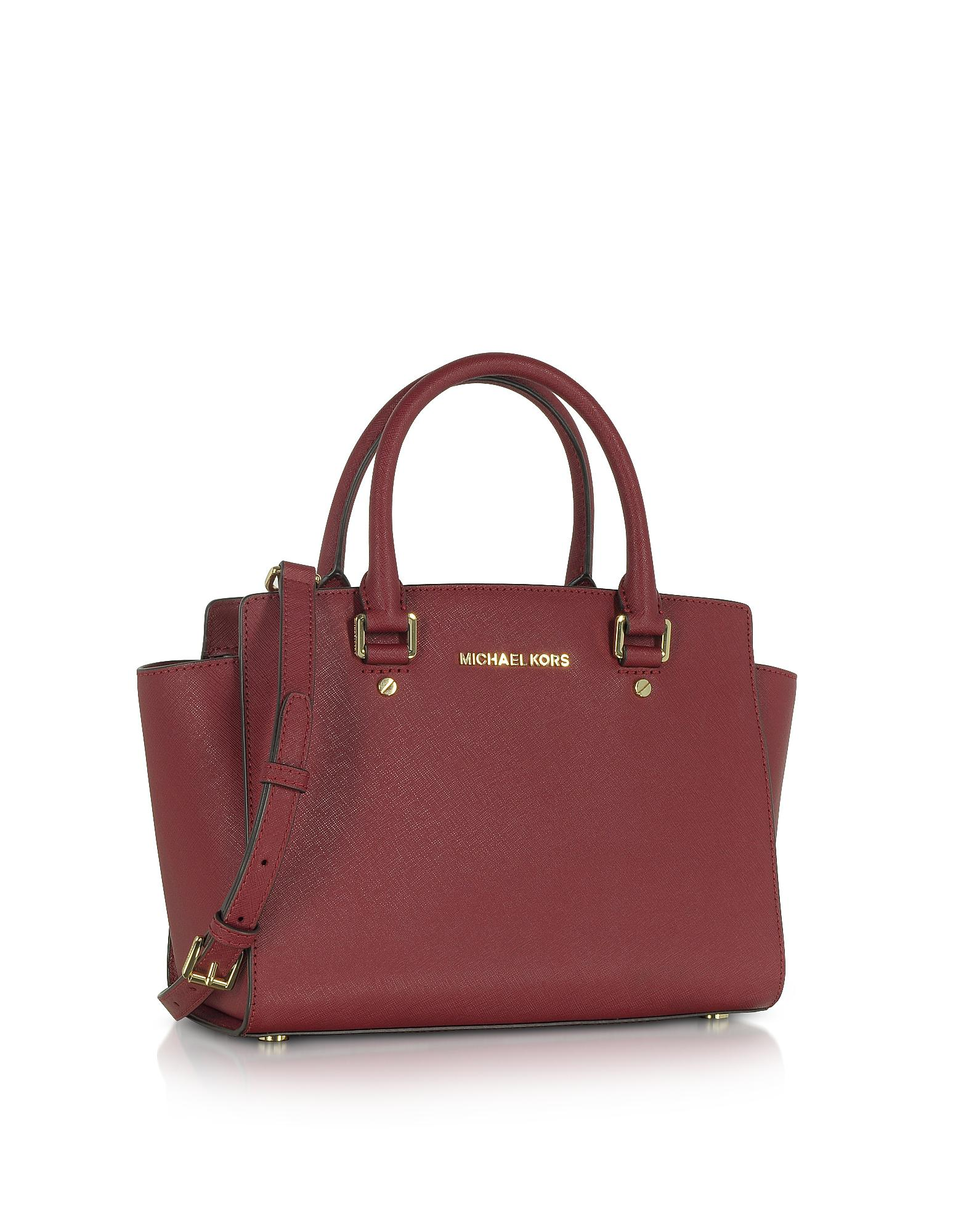 8d6e9a71c3 Michael Kors Selma Medium Mulberry Saffiano Leather Top-zip Satchel ...