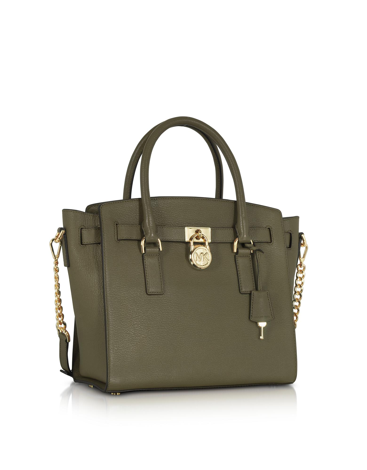 7640b6fe7981 Lyst - Michael Kors Hamilton Large Olive Green Pebbled Leather ...