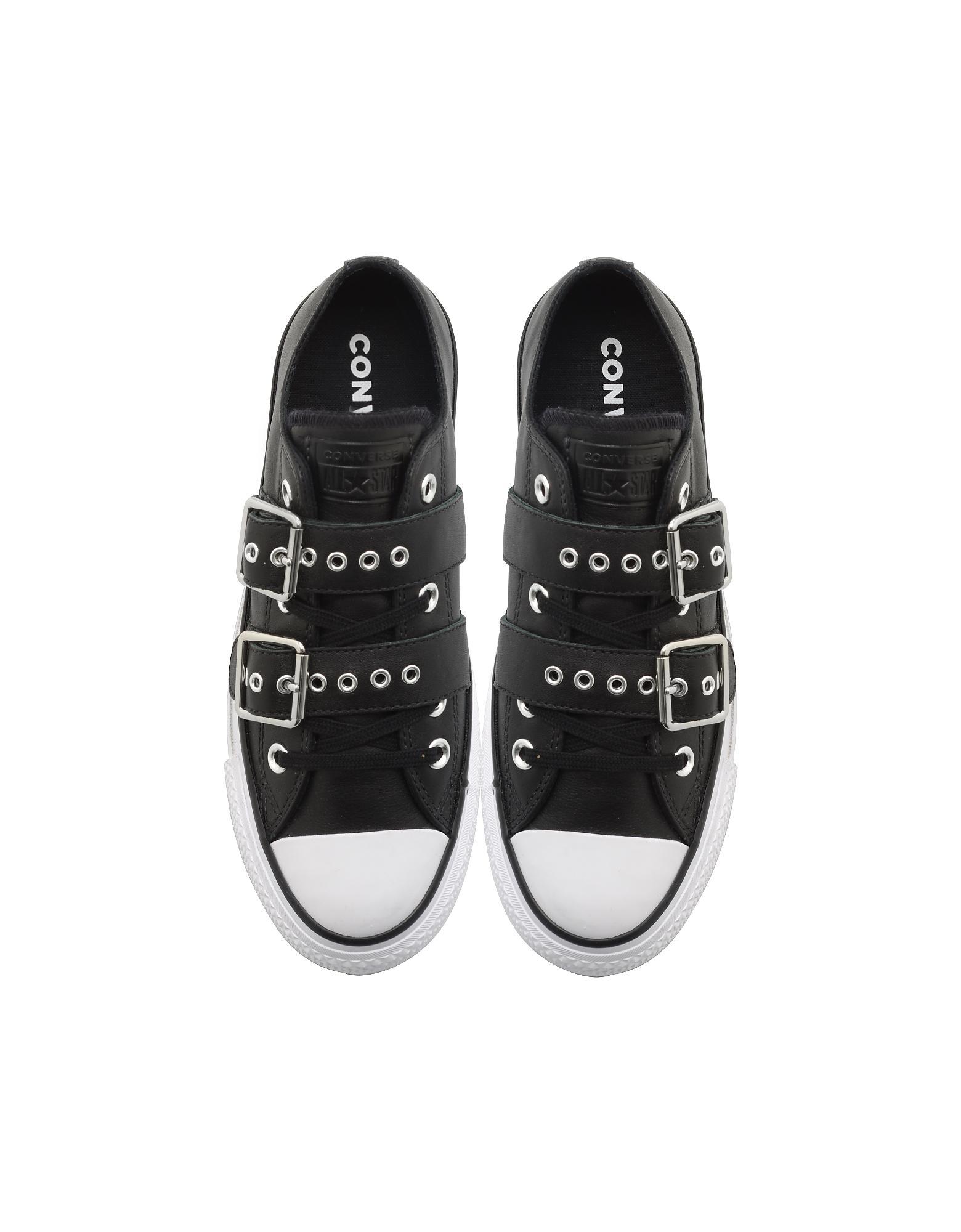 0655b192593cc2 Converse Chuck Taylor All Star Lift Buckle Black Platform Sneakers ...