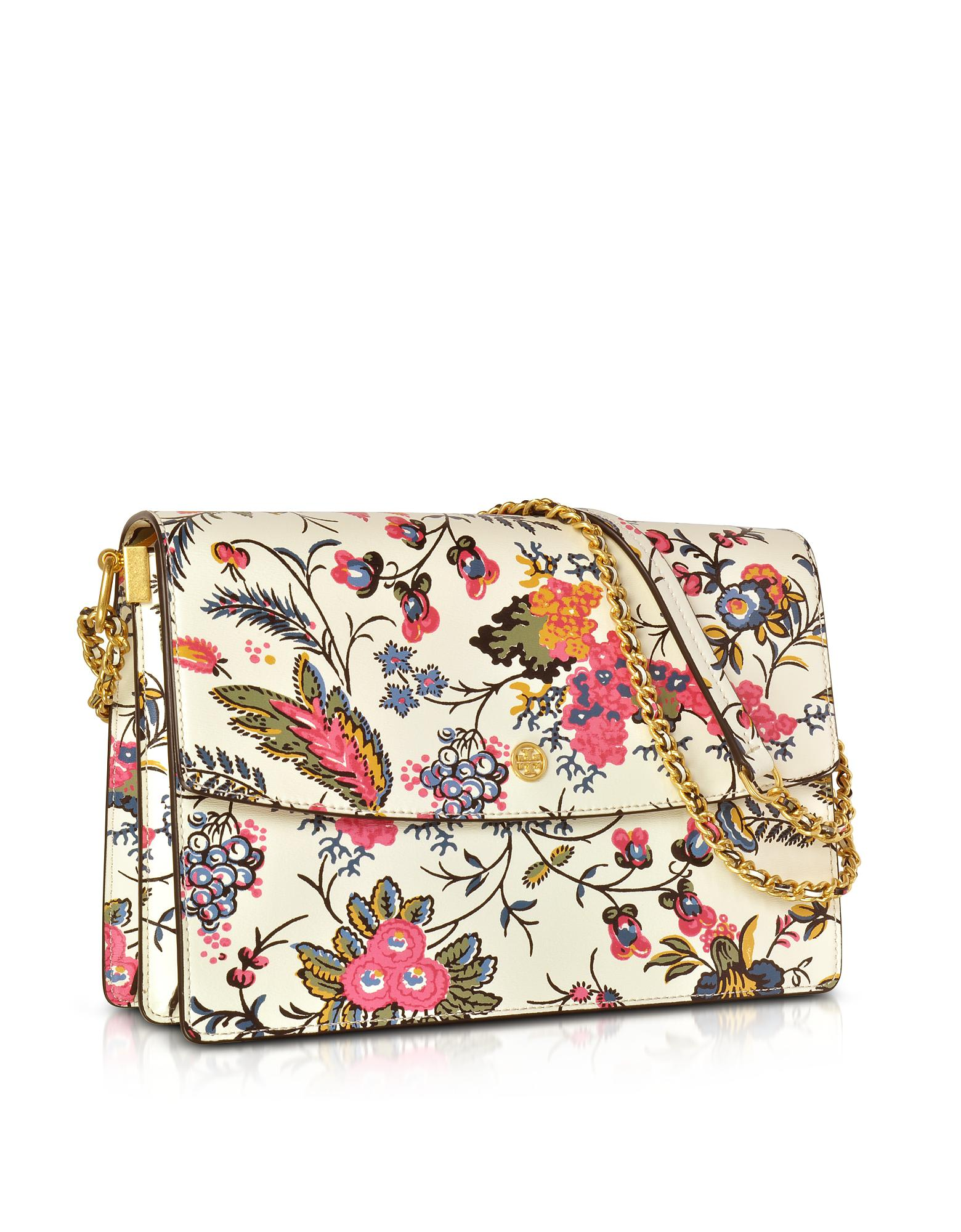 34cb0667 Tory Burch White Parker Gabriella Floral Print Leather Large Soulder Bag