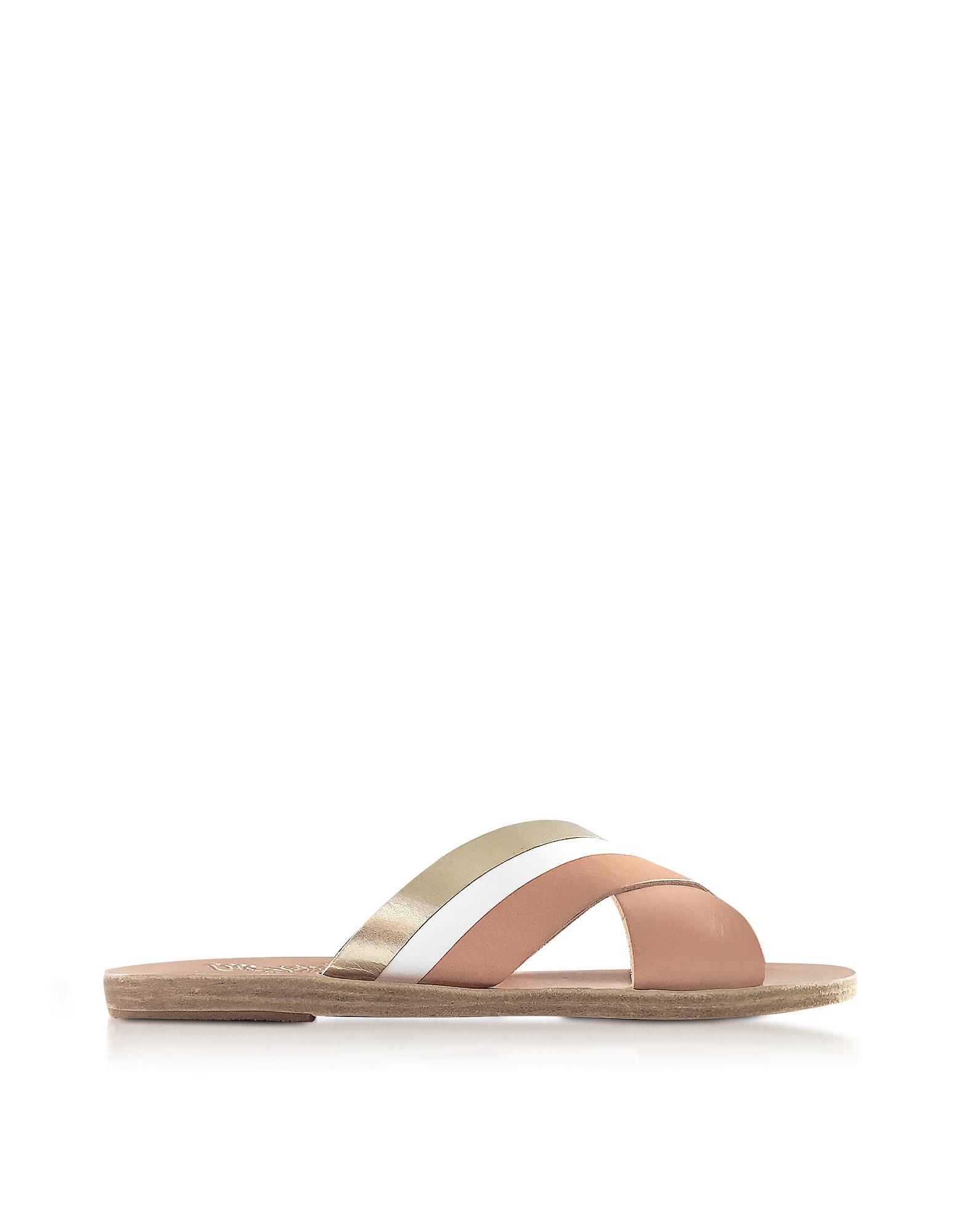 Lyst Ancient Greek Sandals Thais Platinum White And