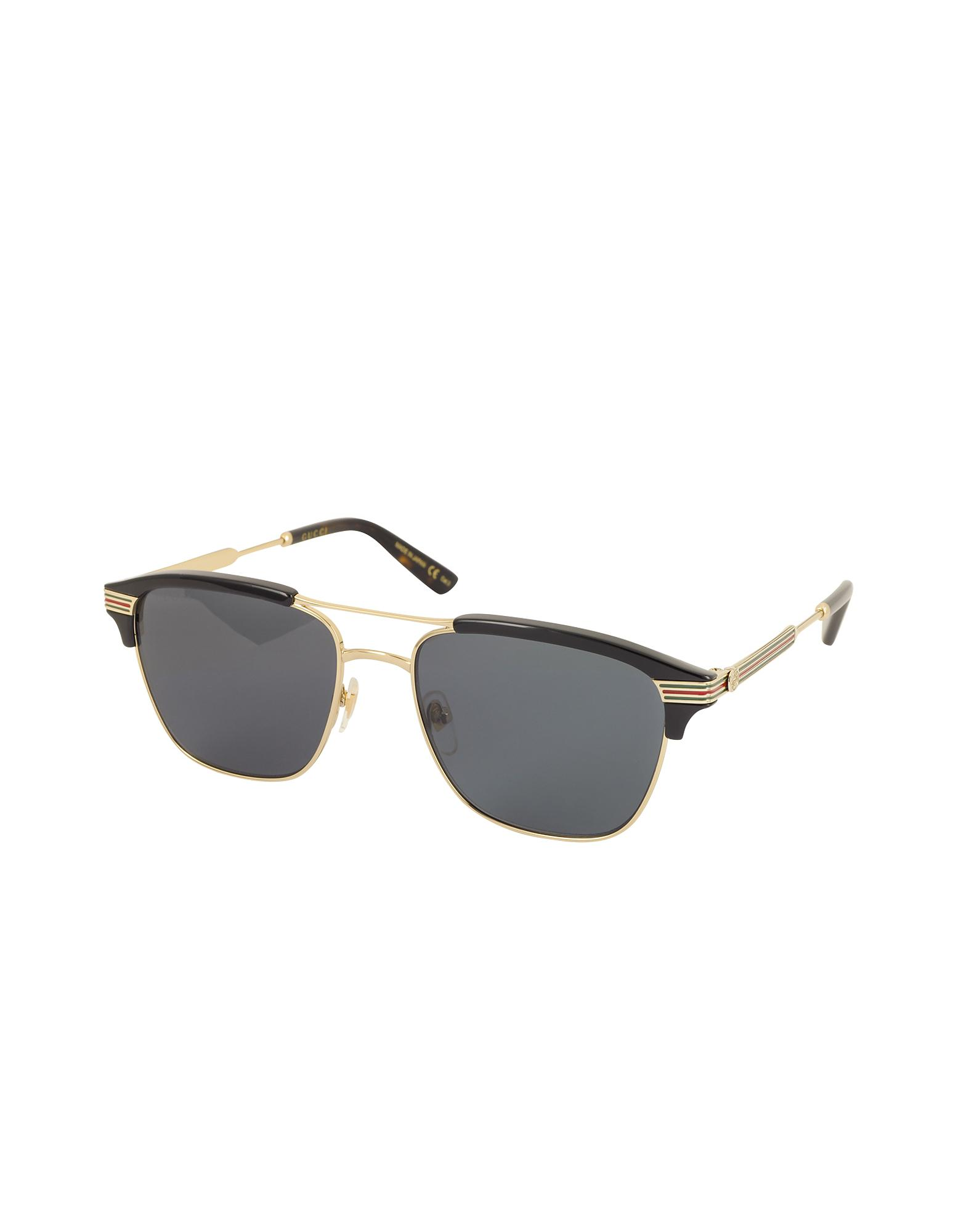 82443f4aa06 Lyst - Gucci GG0241S 002 Square-frame Metal Sunglasses in Black for Men