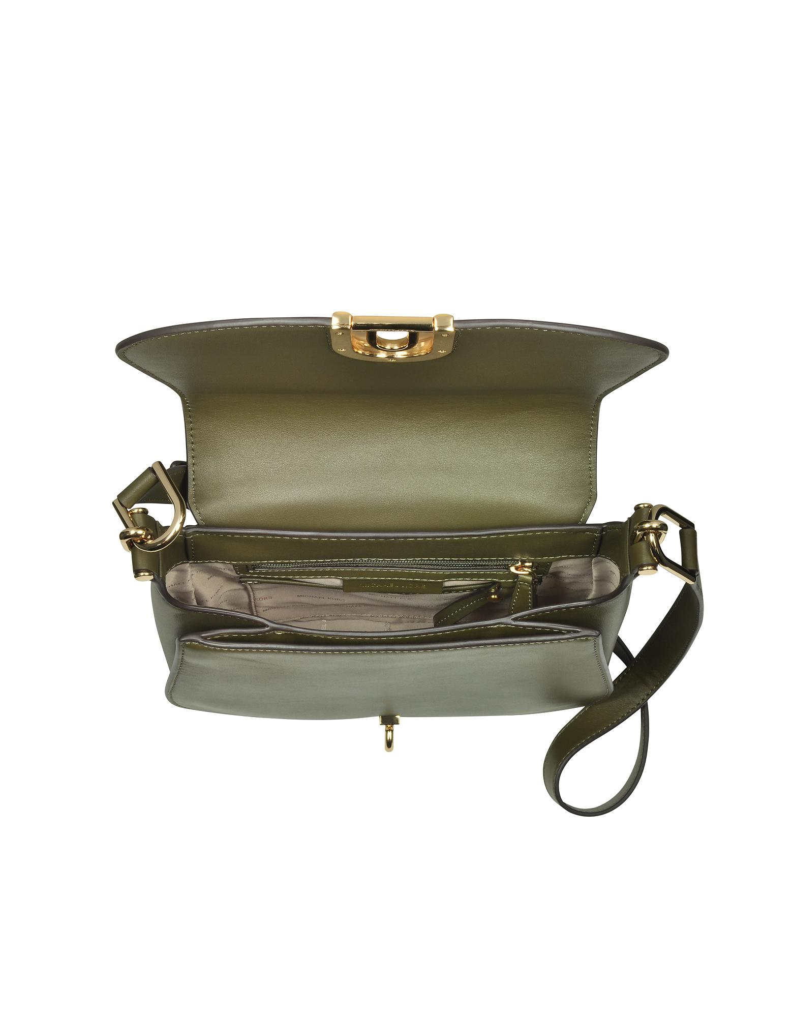 c5c5889255e2 Michael Kors Delfina Large Olive Green Leather Saddle Bag in Green ...