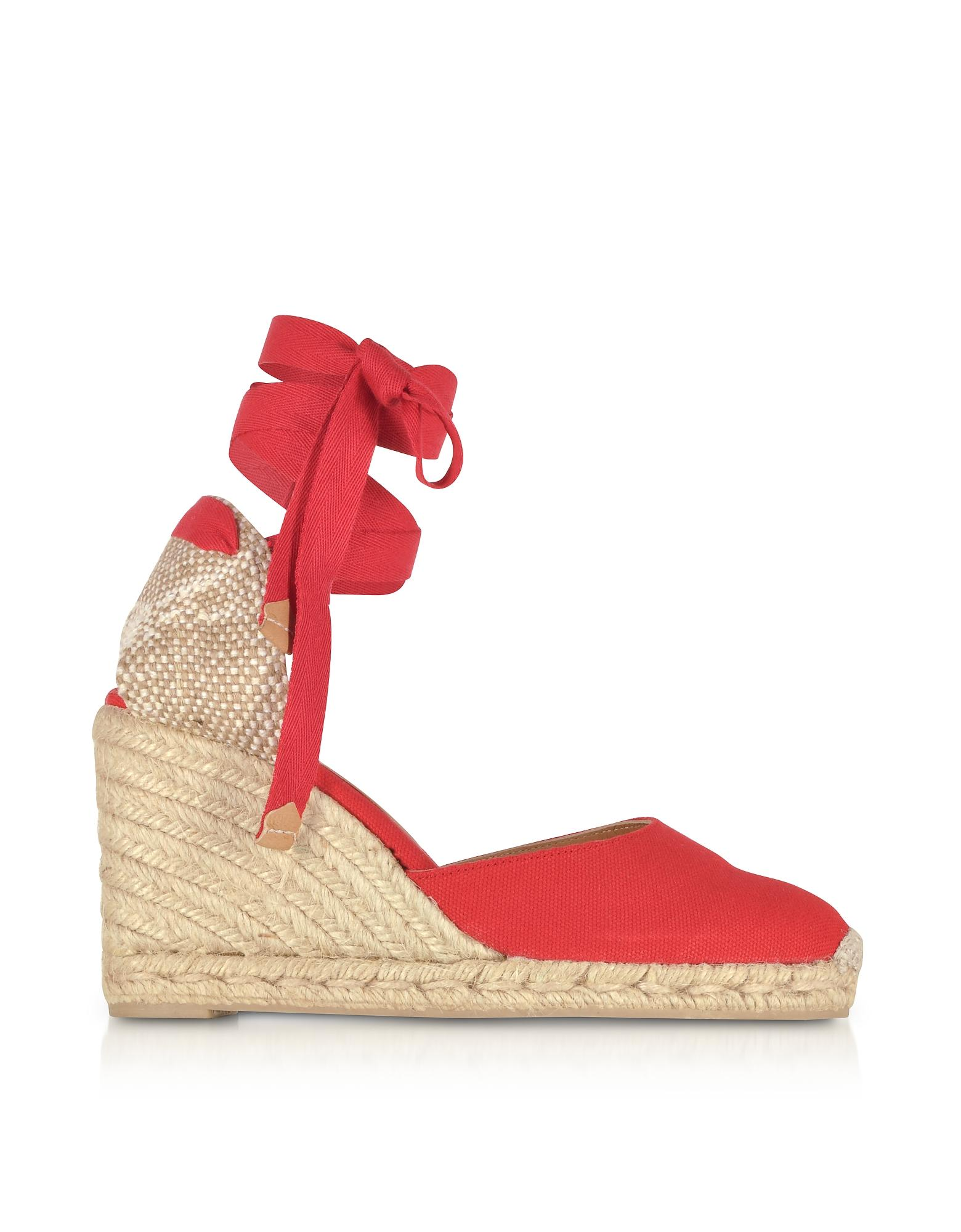 66cbe5a26 Castaner Carina Ruby Red Canvas Wedge Espadrilles in Red - Lyst
