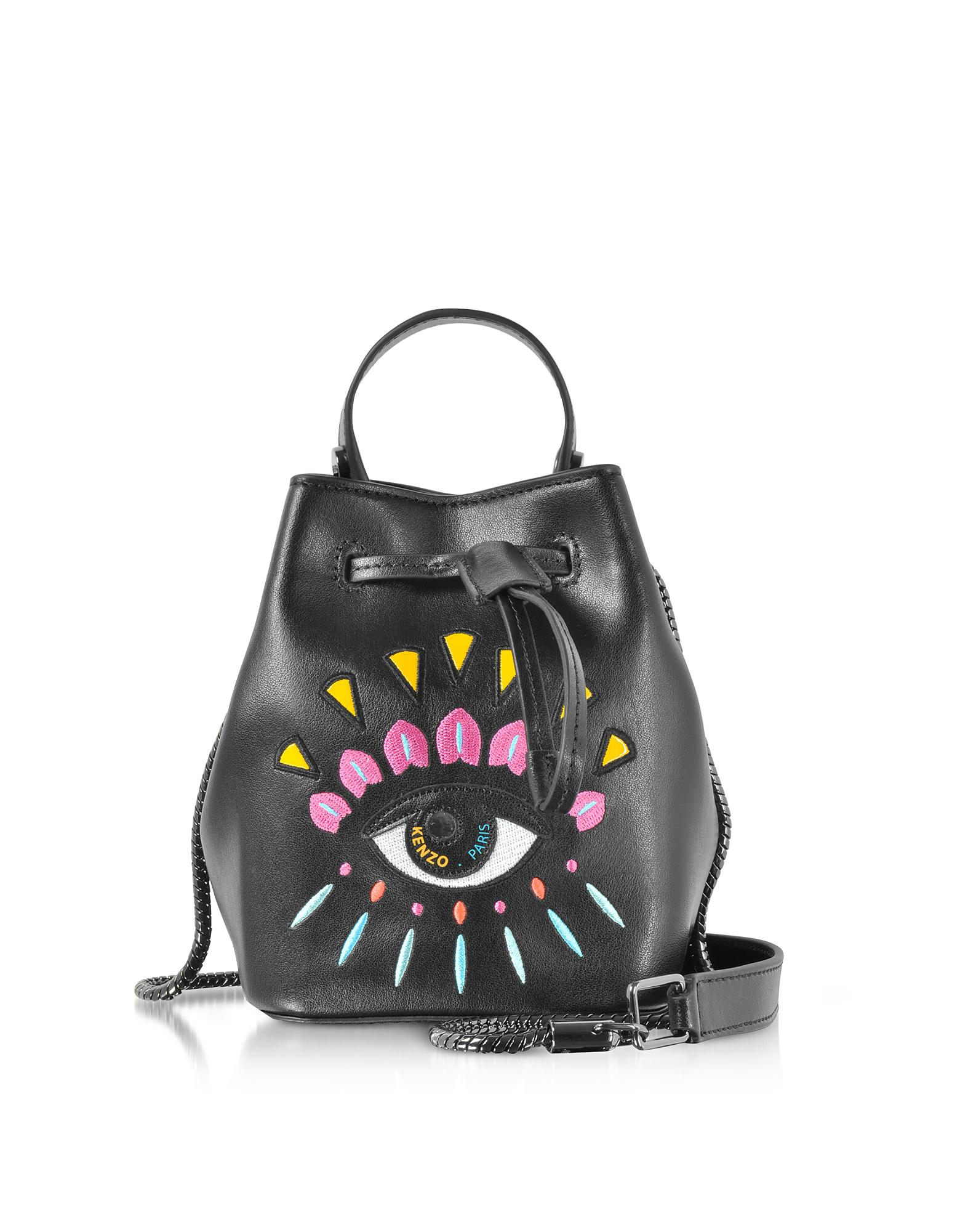 0ce30455aa KENZO Black Leather Mini Eye Bucket Bag in Black - Lyst