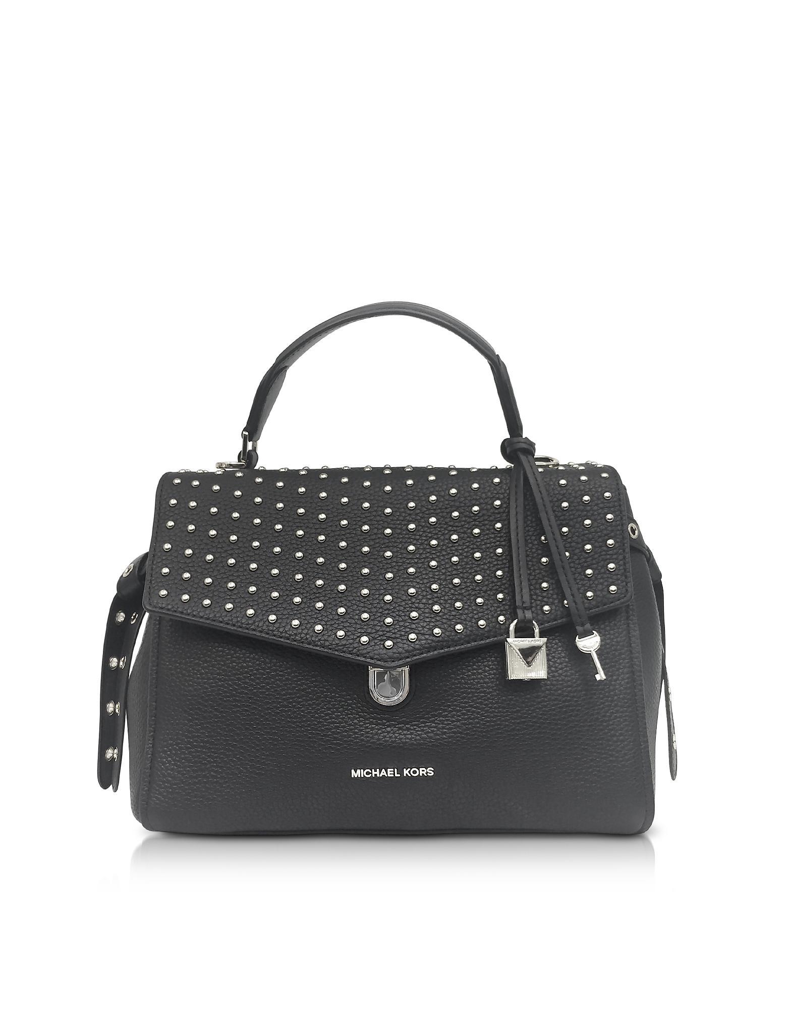 9d5cb69f5b Michael Kors Bristol Black Studded Leather Top Handle Satchel Bag in ...