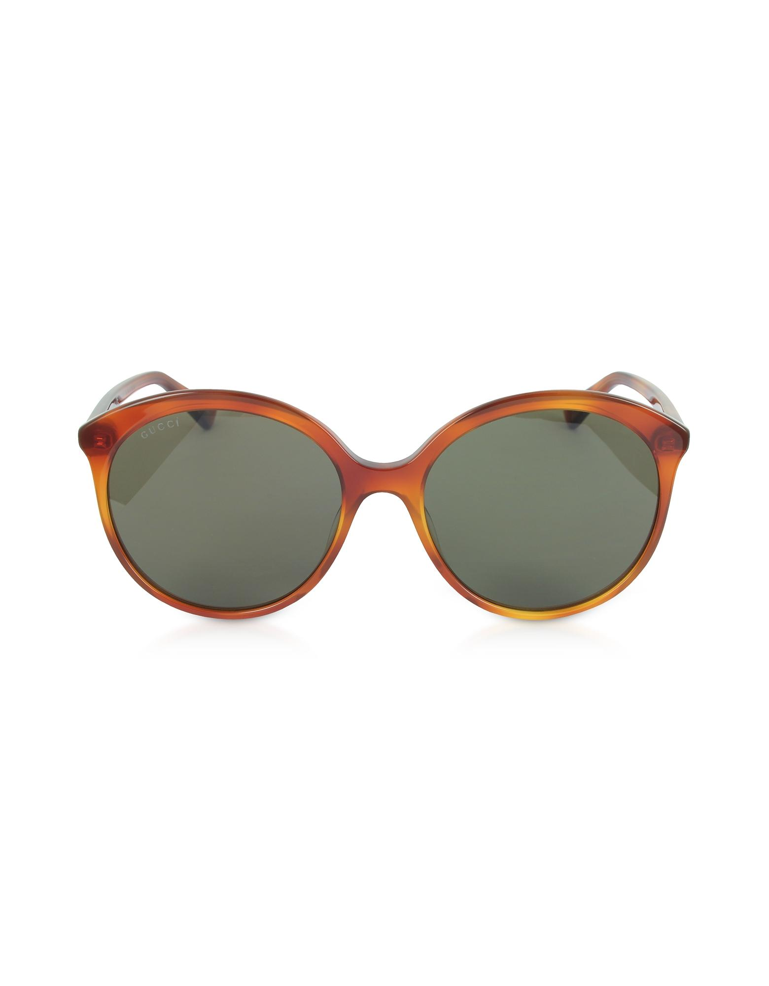 570b5701fec Gucci - GG0257S Specialized Fit Round-frame Havana Brown Acetate Sunglasses  - Lyst. View fullscreen
