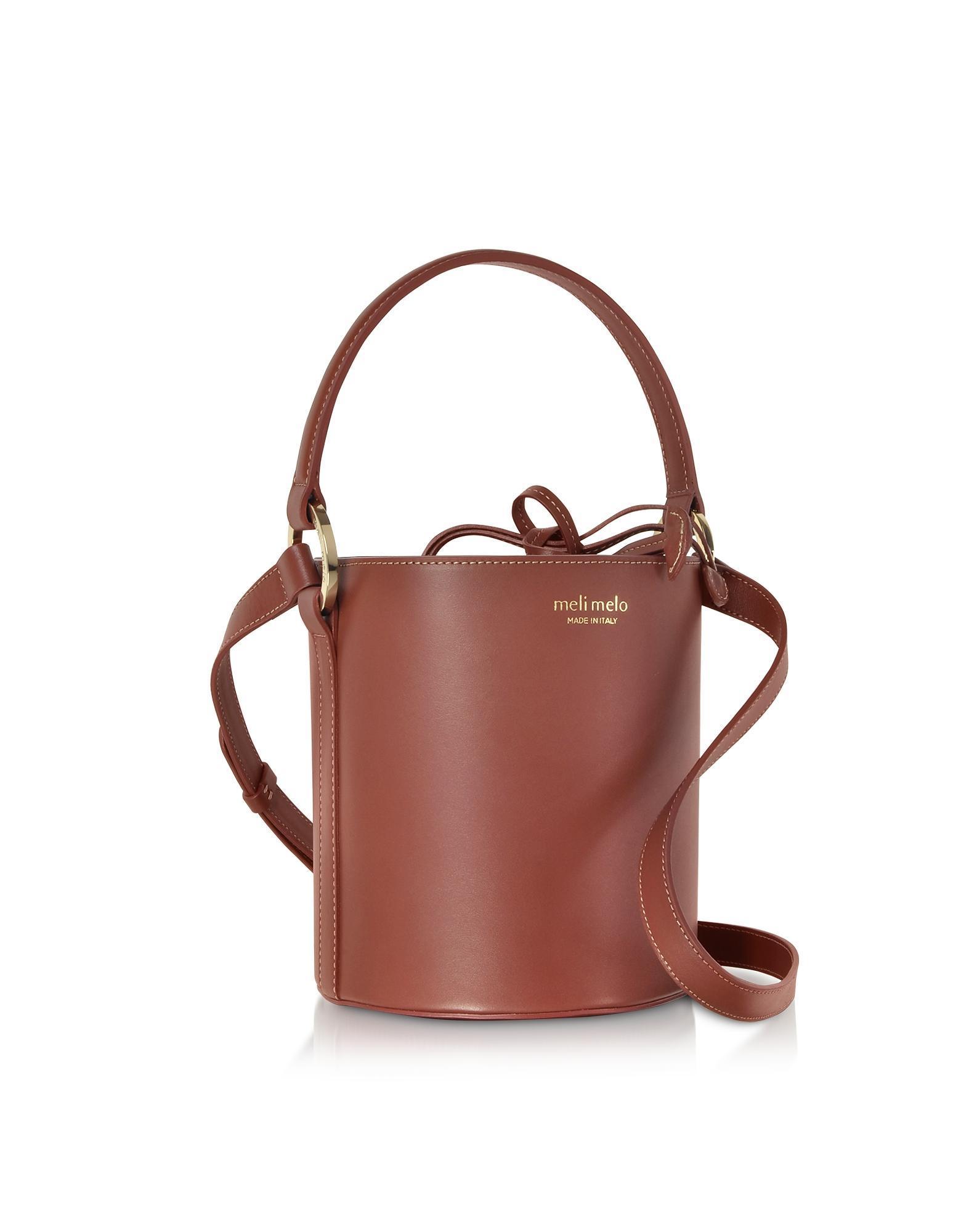 Lyst - Meli Melo Argan Nappa Leather Santina Mini Bucket Bag in Brown 907c7a45782d2