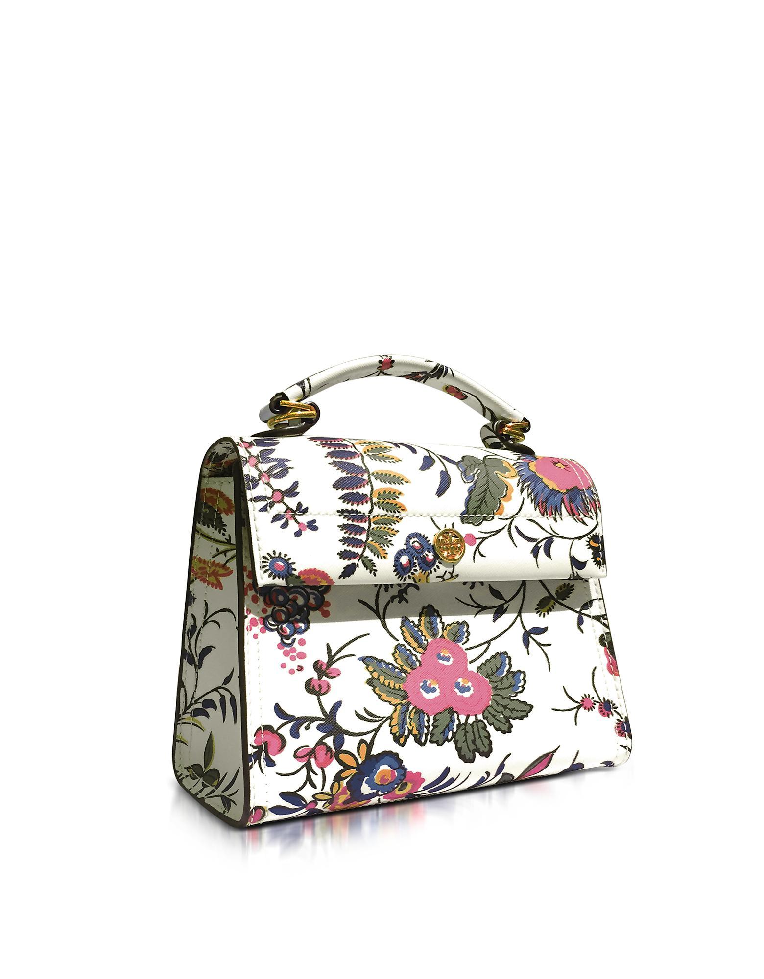 da92c8d00d5 Lyst - Tory Burch Parker Gabriella Floral Print Leather Small ...