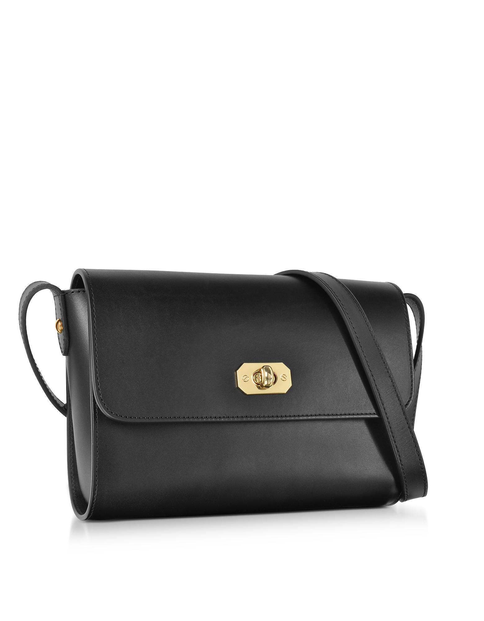 355a930eeb Lyst - A.P.C. Greenwich Black Leather Crossbody Bag in Black