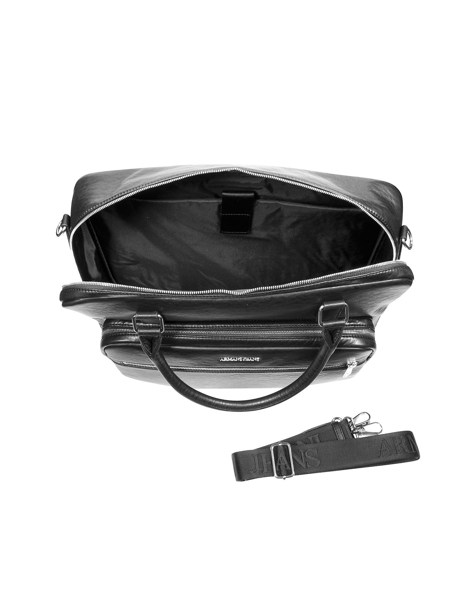 Armani Jeans Black Eco Leather Men S Briefcase In Black