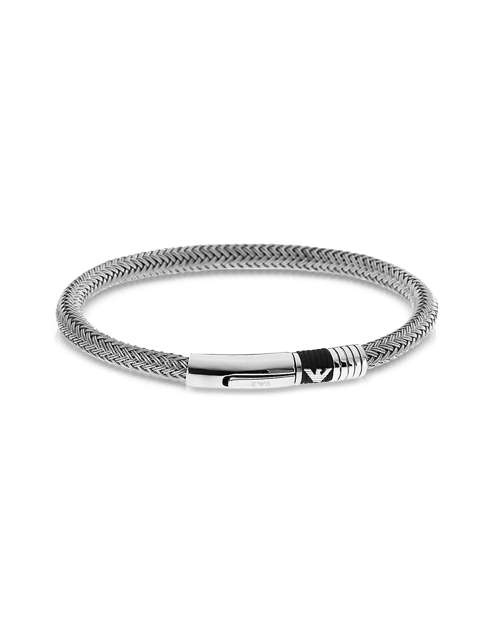 Emporio Armani Metallic Iconic Woven Stainless Steel Men S Bracelet