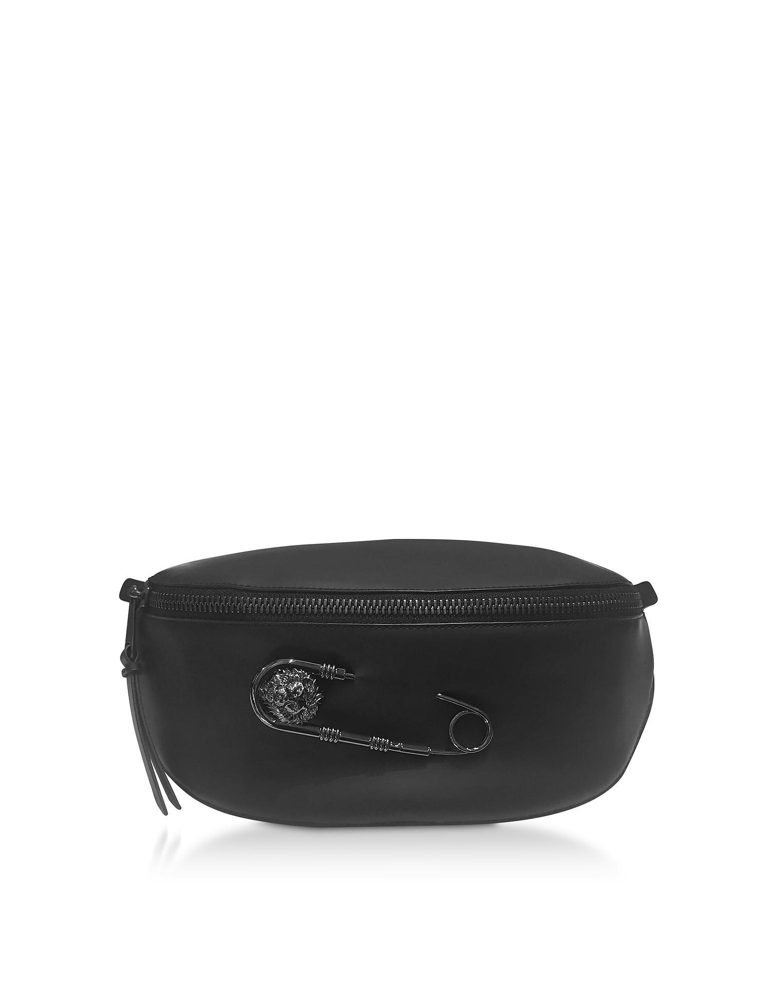 04276c82b6f8 Lyst - Versus Black Gummy Calf Leather Belt Bag in Black