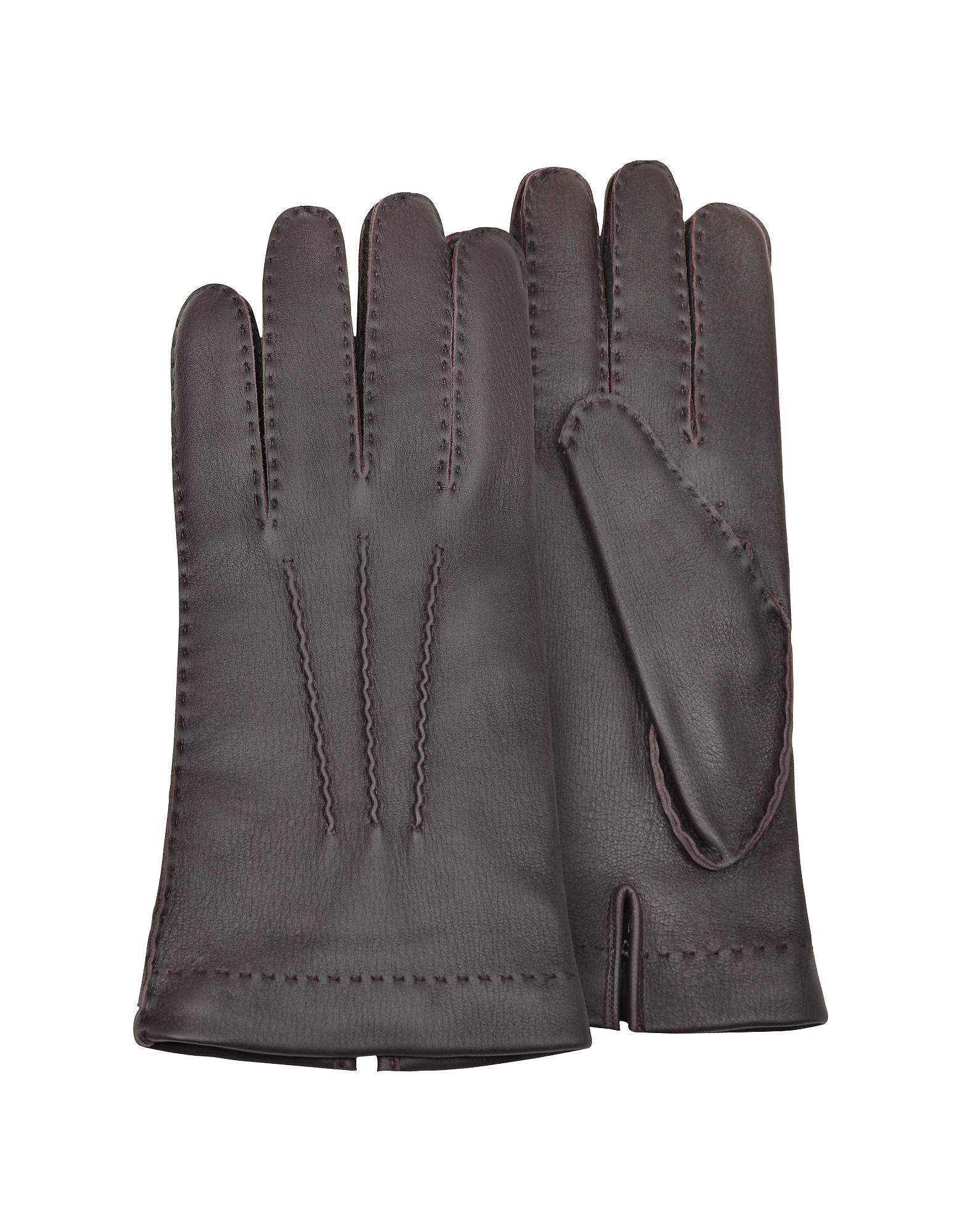 f2a635c290ee Forzieri Men s Cashmere Lined Brown Italian Deer Leather Gloves in ...