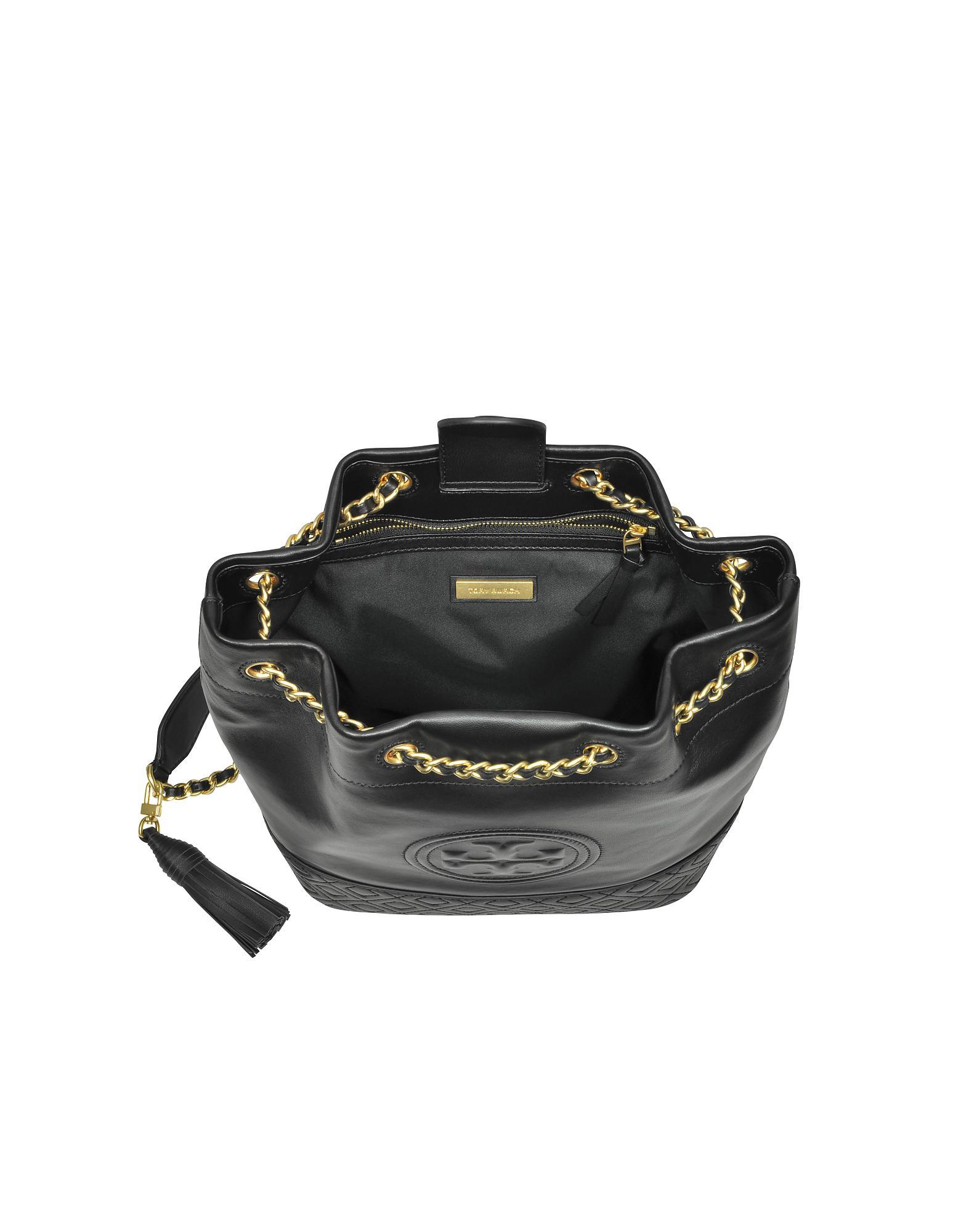 6646d9c9332b Lyst - Tory Burch Black Leather Fleming Bucket Bag in Black