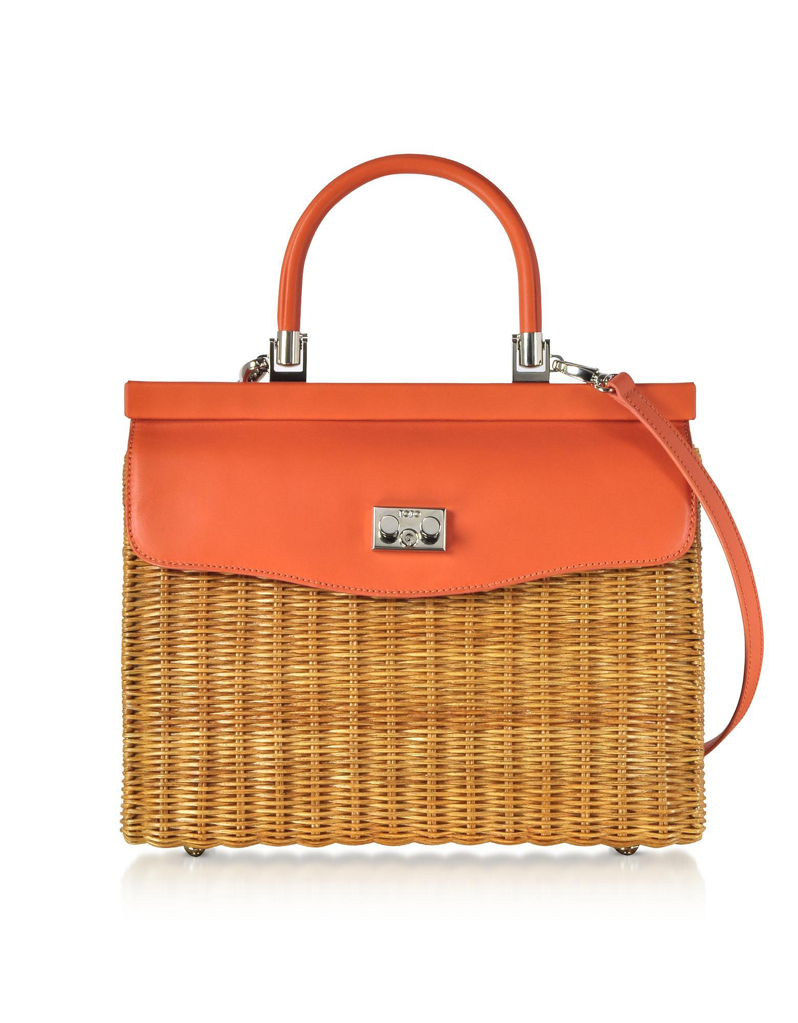 9c74e8726220e Rodo - Orange Large Leather And Wicker Midollina Satchel Bag - Lyst