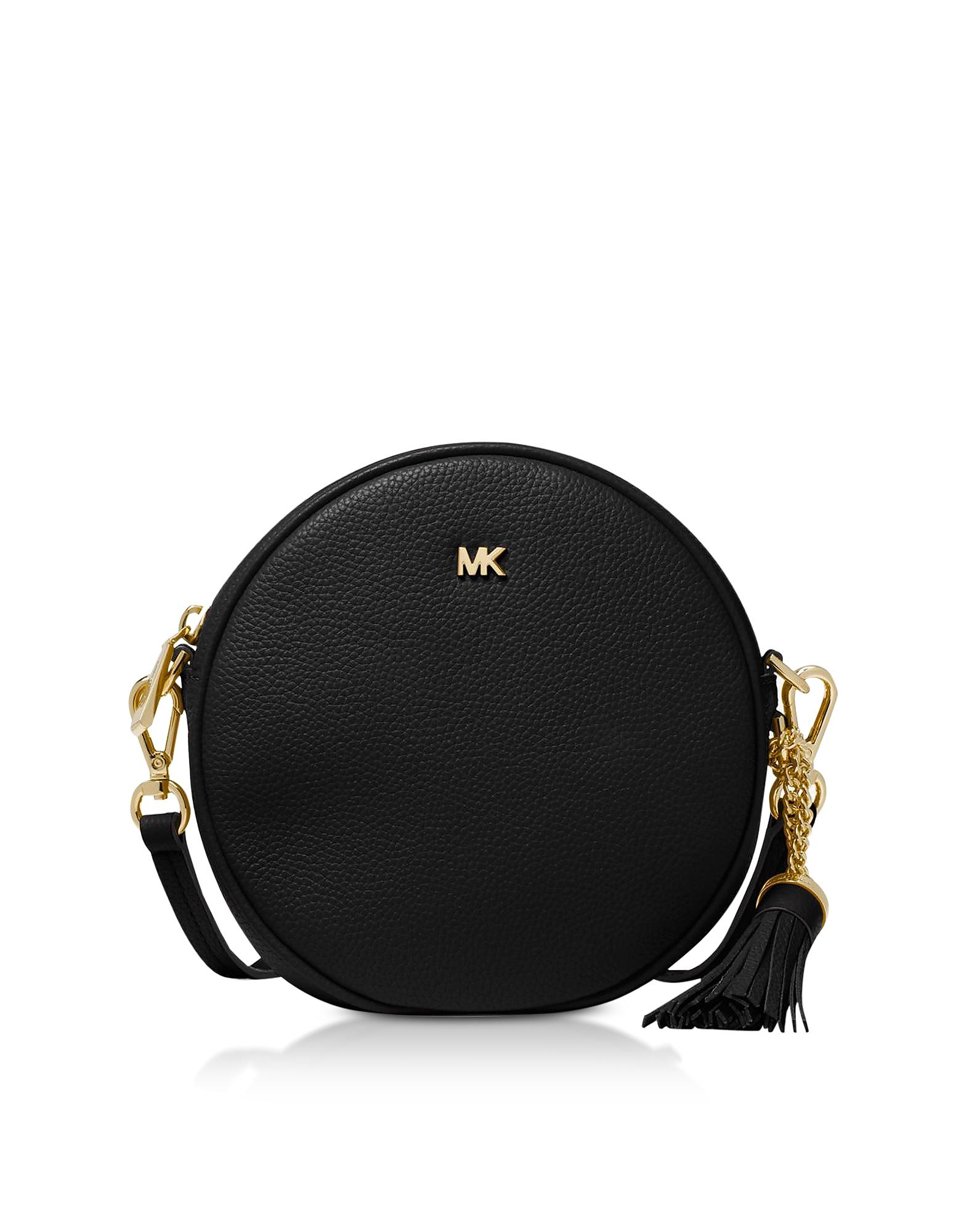c3d106578640e Lyst - Michael Kors Pebbled Leather Canteen Crossbody in Black ...