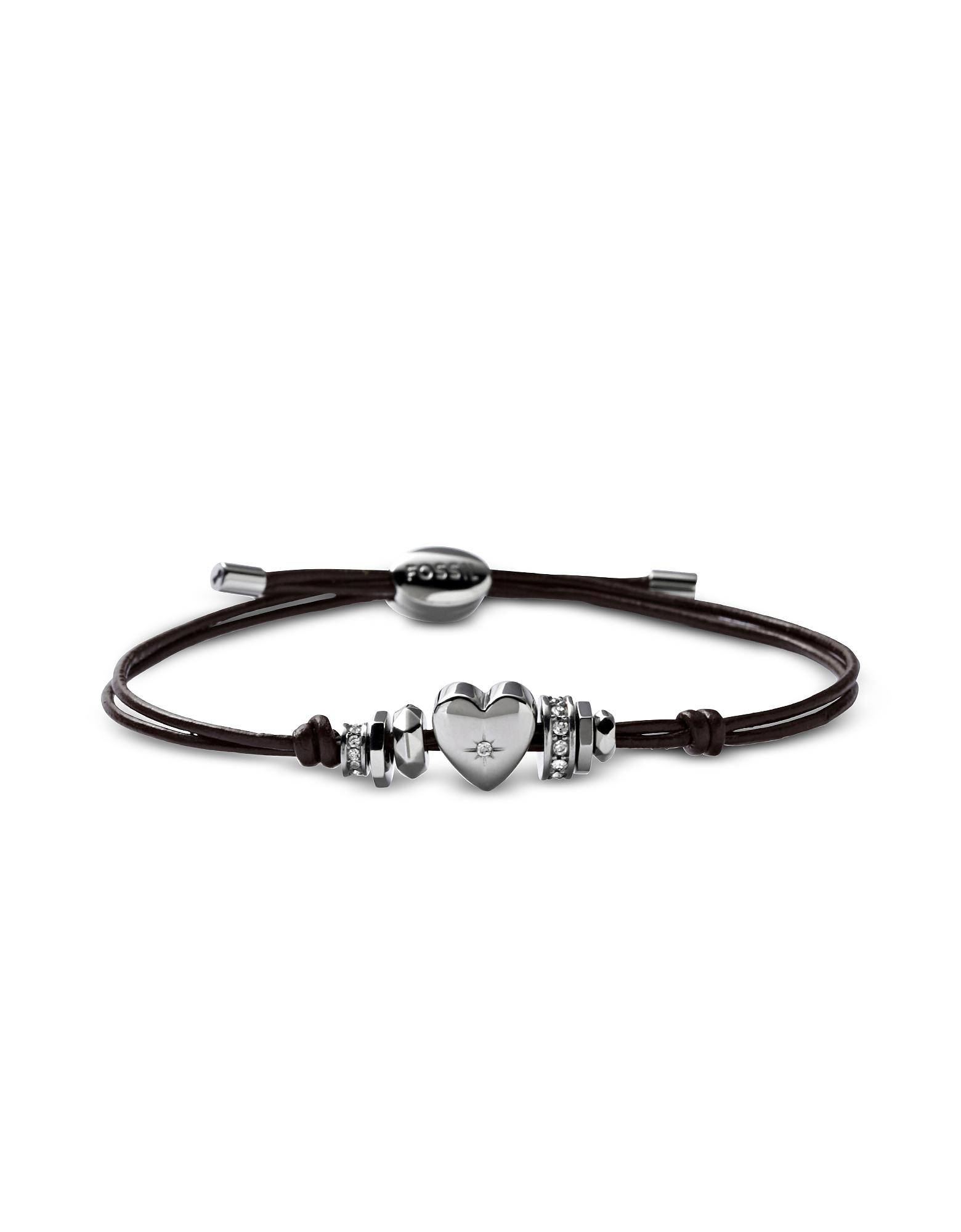 Fossil Womens Nylon Bracelet Leather Black Glitz Heart