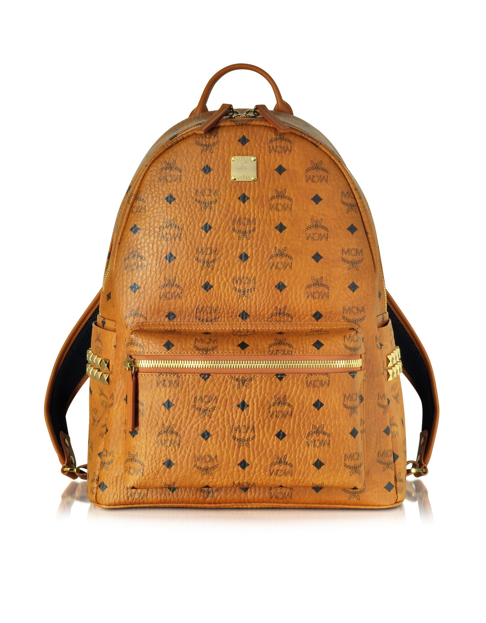 Mcm Medium Stark Cognac Backpack in Khaki (cognac)