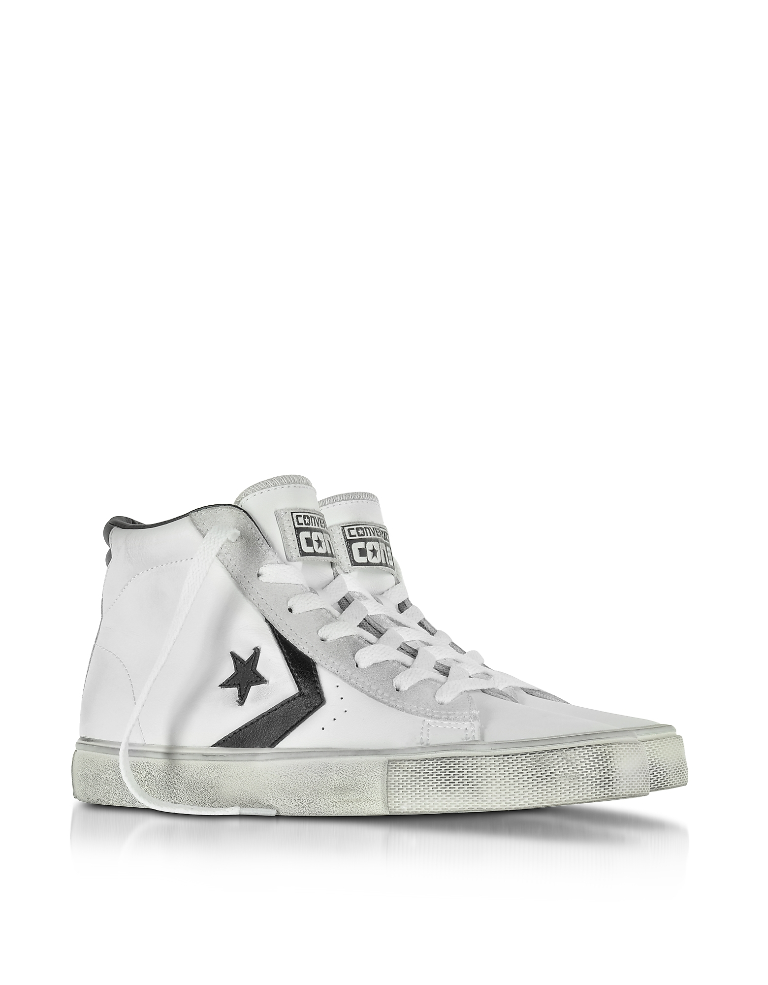 Lyst - Converse Pro Leather Vulc White And Black Mid Top Unisex ... 4dd37091fbb8