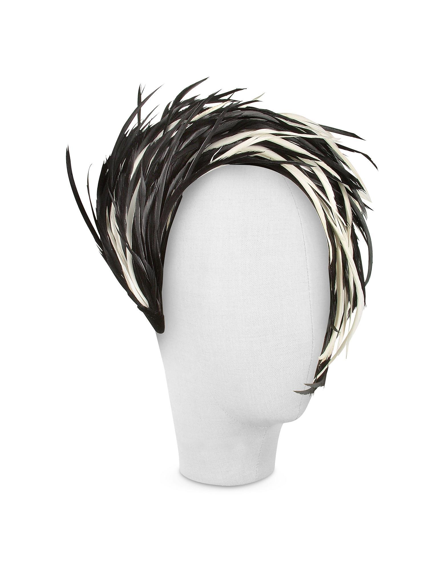 6d6918ba150 Nana  Aurora - Black And White Feather Headband in Black - Save  36.29160063391442% - Lyst