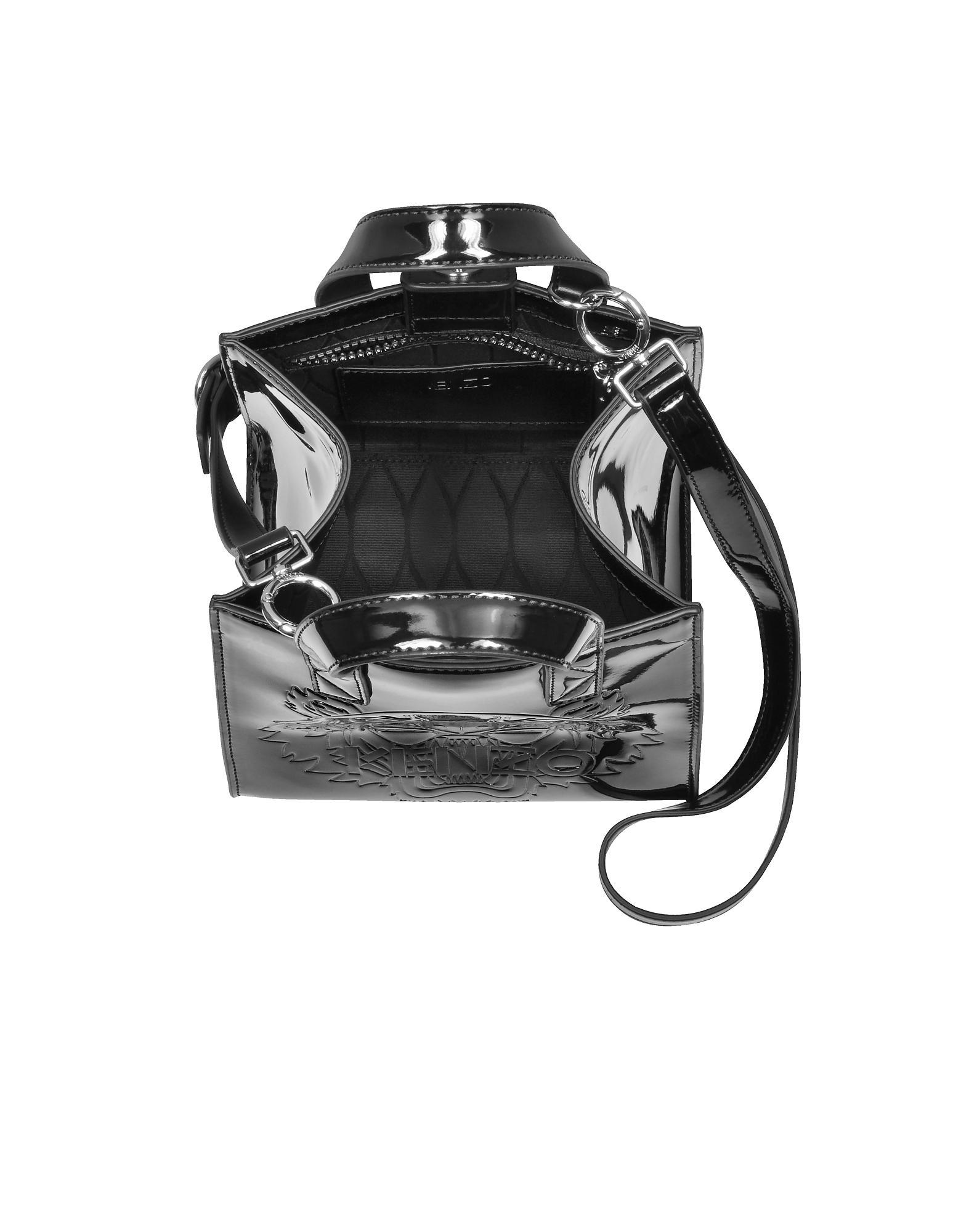 638330dcc8f3 Lyst - KENZO Black Patent Mini Tiger Tote Bag in Black