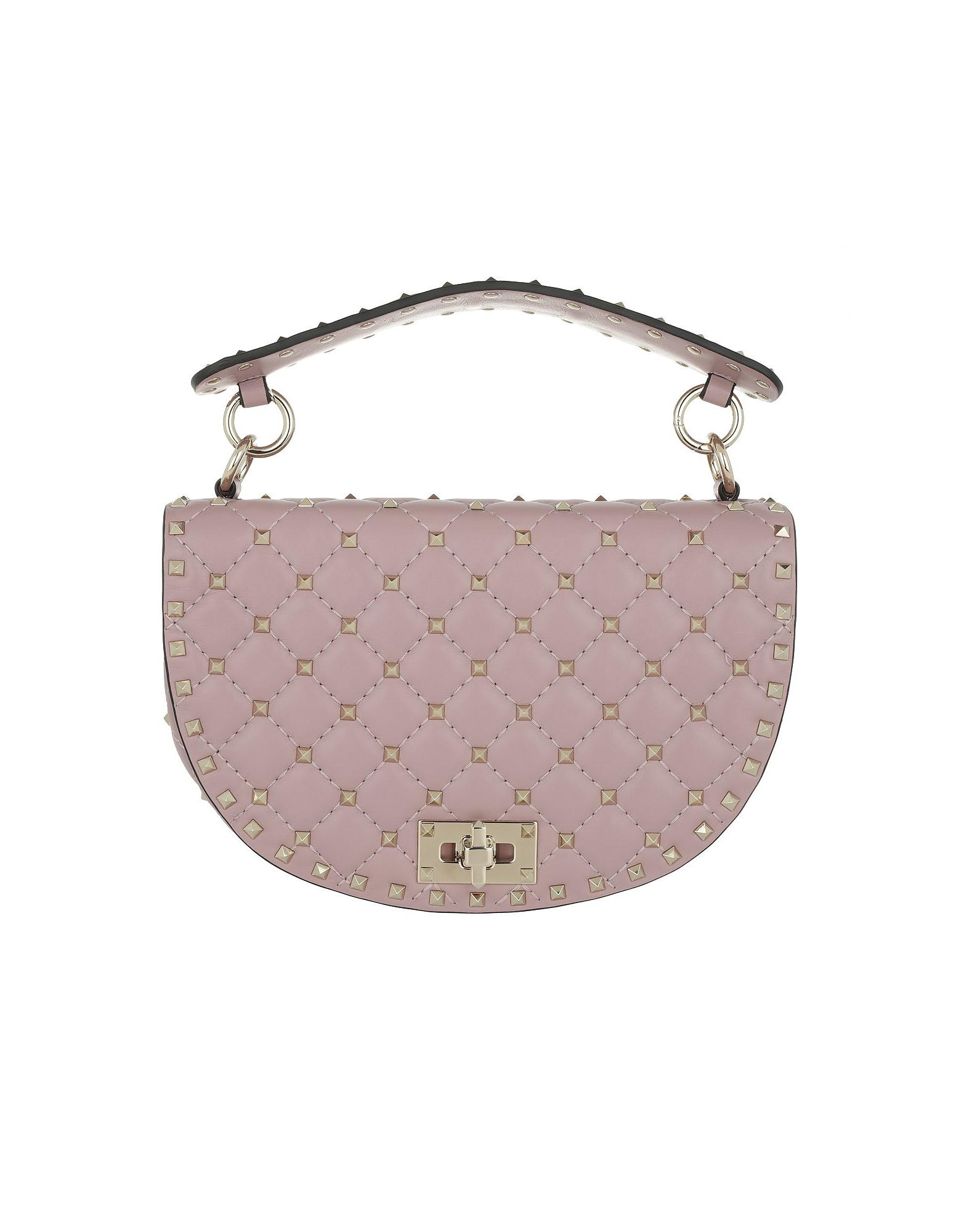 1fc6350f31 Valentino Rockstud Half Round Crossbody Bag Leather Lip in Pink - Lyst