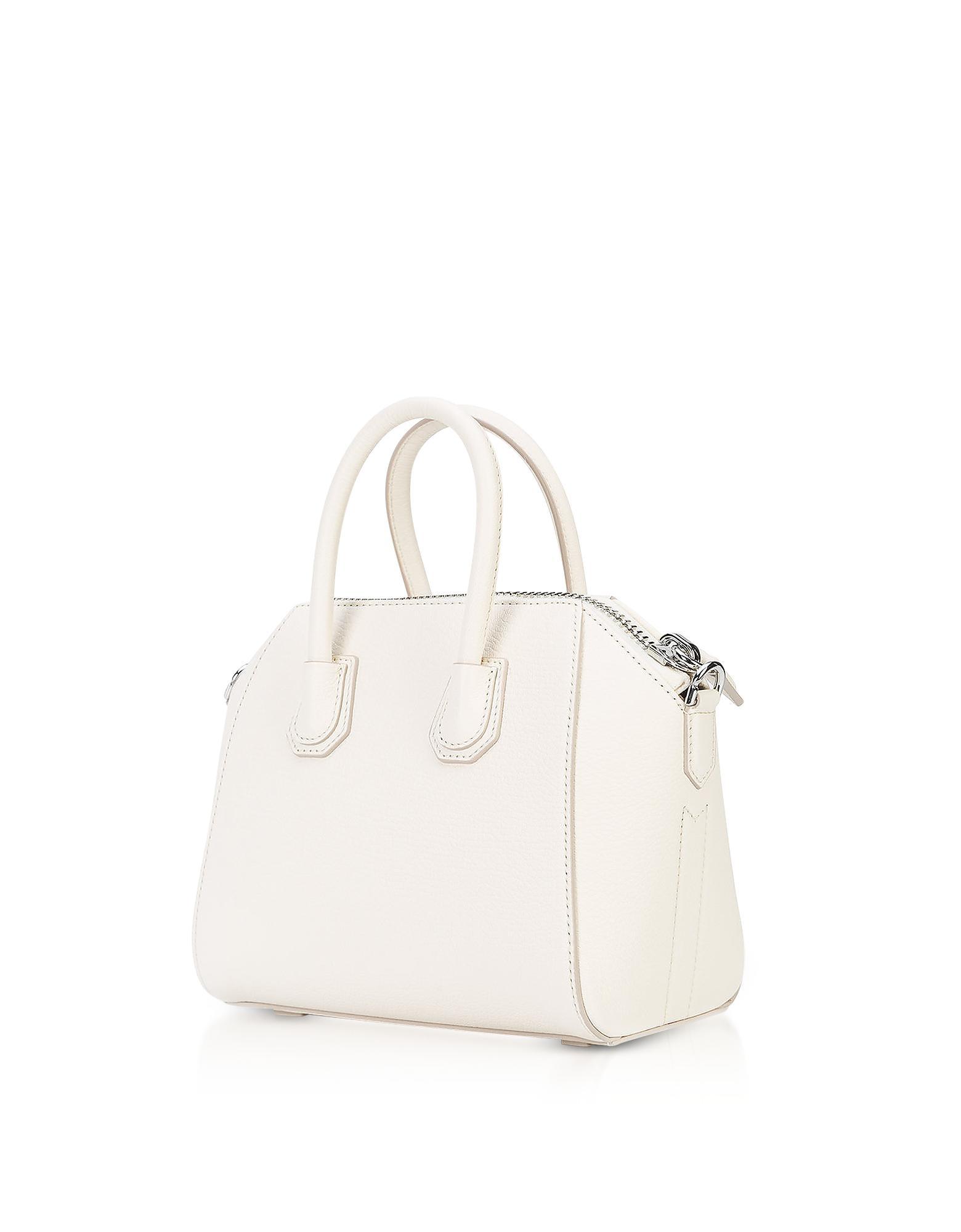 a7a8d7c0e29e Lyst - Givenchy Antigona Mini Off White Leather Satchel Bag in White