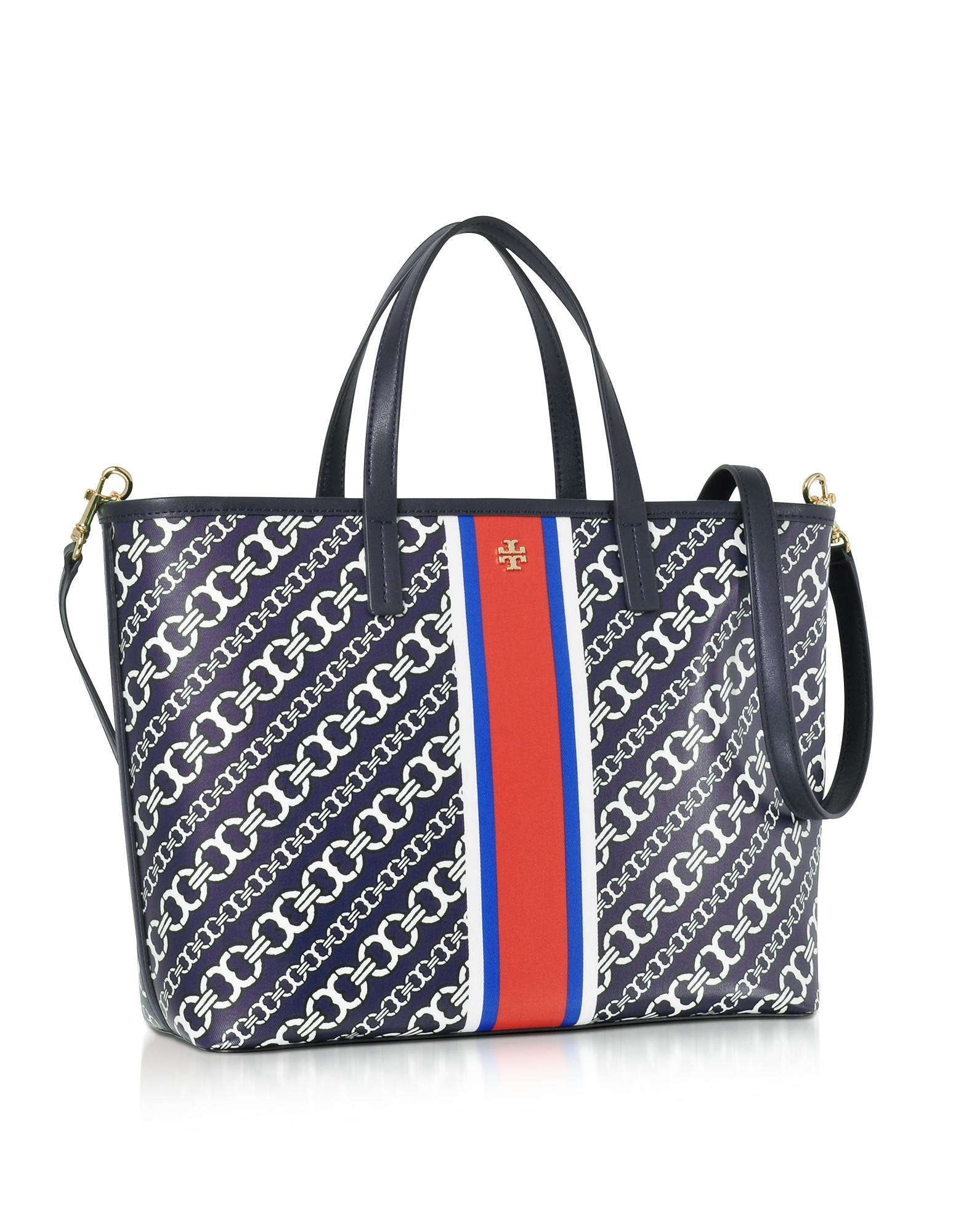 bf1b255a7bc1 Lyst - Tory Burch Gemini Link Navy Coated Canvas Small Tote Bag in Blue