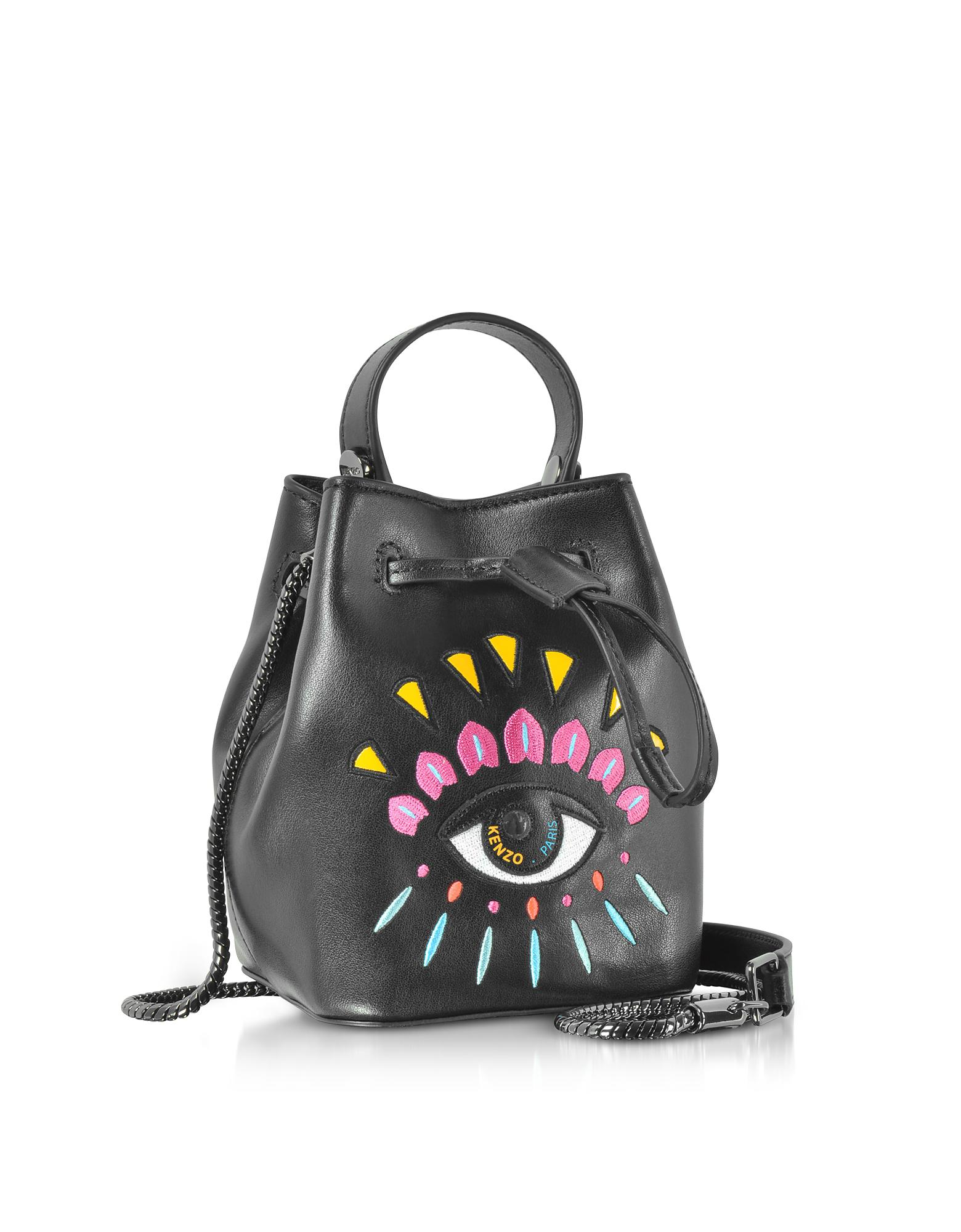 7b026f6837 KENZO Black Leather Mini Eye Bucket Bag
