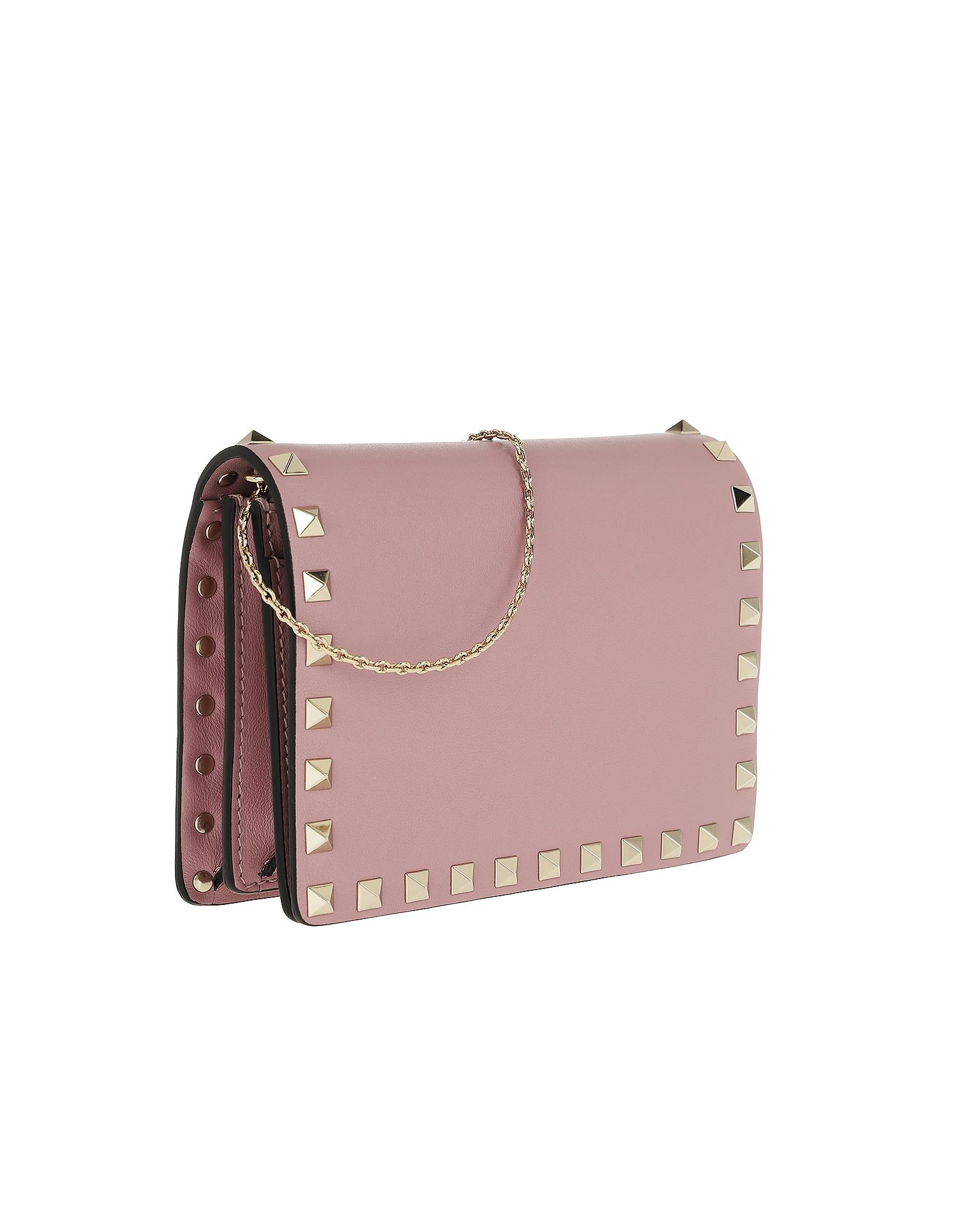 1288d3f57d25 Lyst - Valentino Rockstud Wallet On Chain Calf Leather Lip Pink in Pink