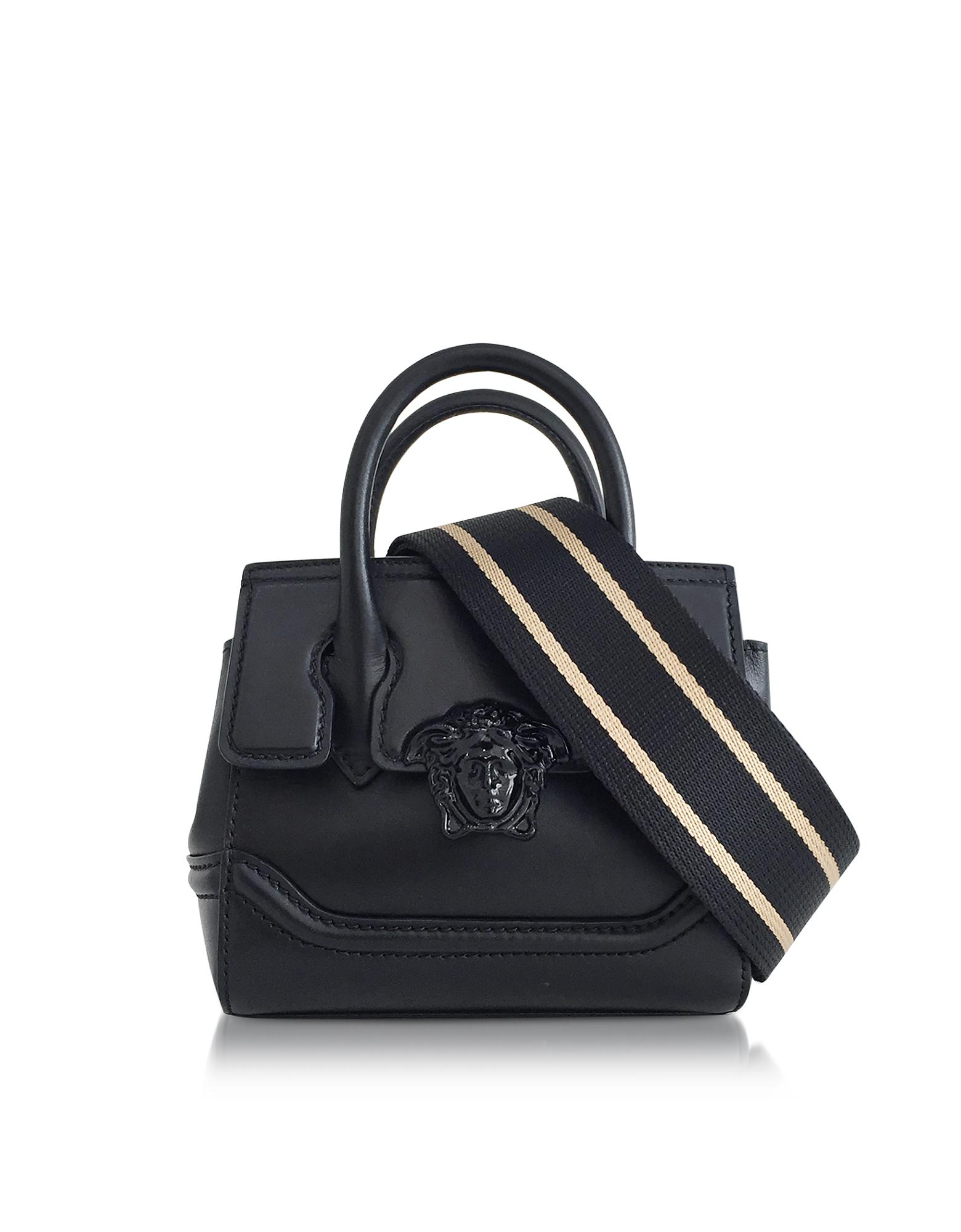 8ebdfd4d8a Versace Palazzo Empire Black Leather Mini Handbag in Black - Lyst