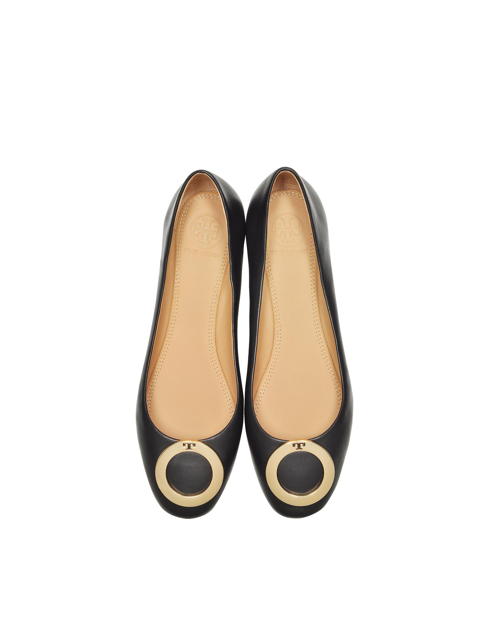 f2c97145f3ce Lyst - Tory Burch Caterina Perfect Black Leather Flat Ballerinas in ...