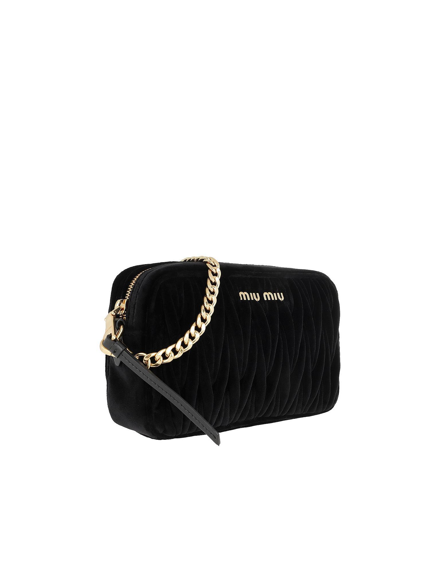 12c469c175b2 Miu Miu Matelassé Shoulder Bag Velvet Black in Black - Lyst