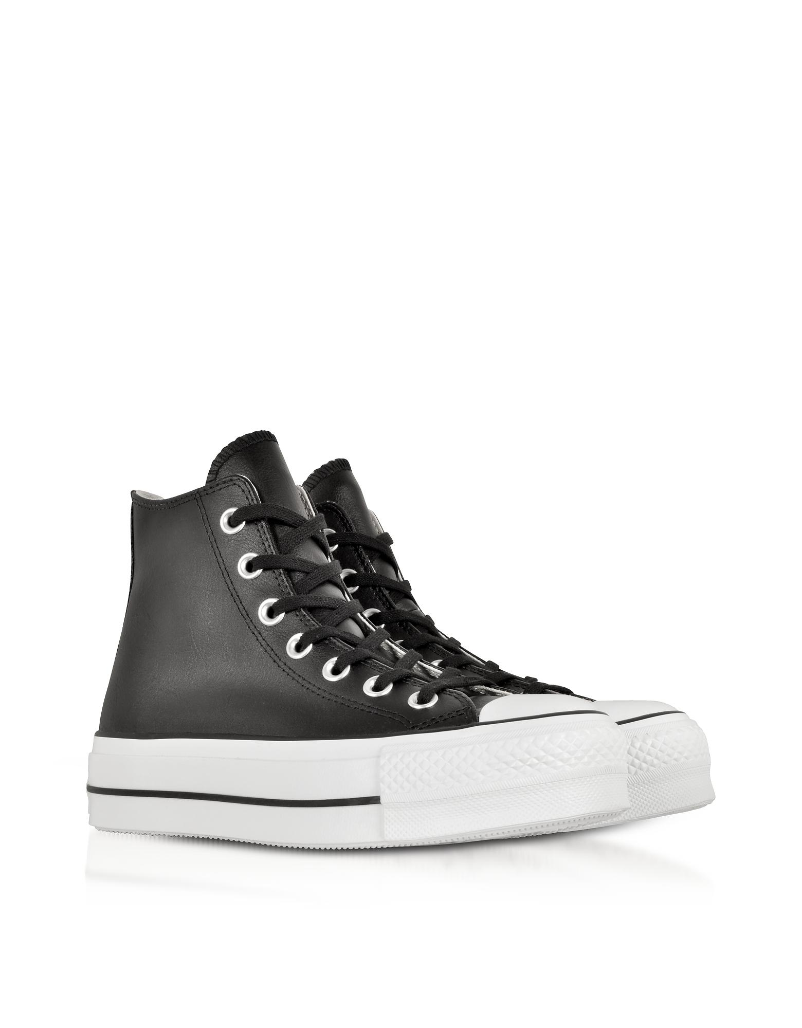 8be6d1abba Converse Chuck Taylor All Star Lift Clean Black Leather High Top Platform  Sneakers in Black - Lyst