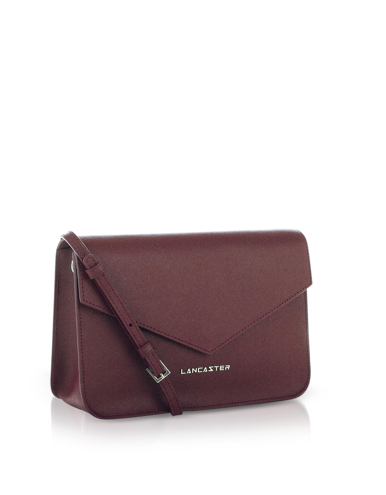 Lyst - Lancaster Paris Bordeaux Saffiano Signature Flap Clutch W strap in  Purple 94eea1fbae