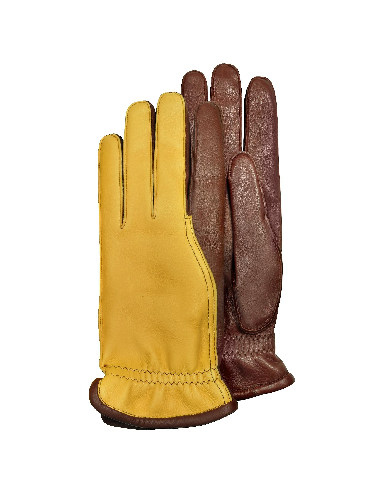 6194ce0c5b99 Pineider. Brown Men s Two-tone Deerskin Leather Gloves W  Cashmere Lining