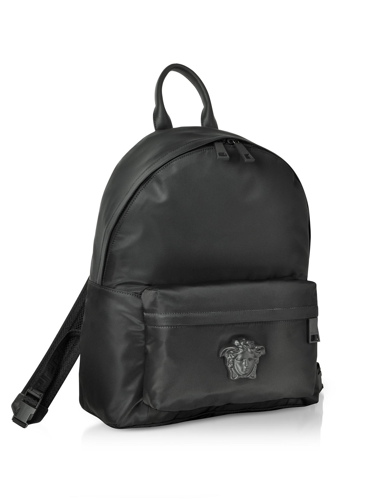 751f031845 Versace Black Nylon Medusa Head Men s Backpack in Black for Men - Lyst