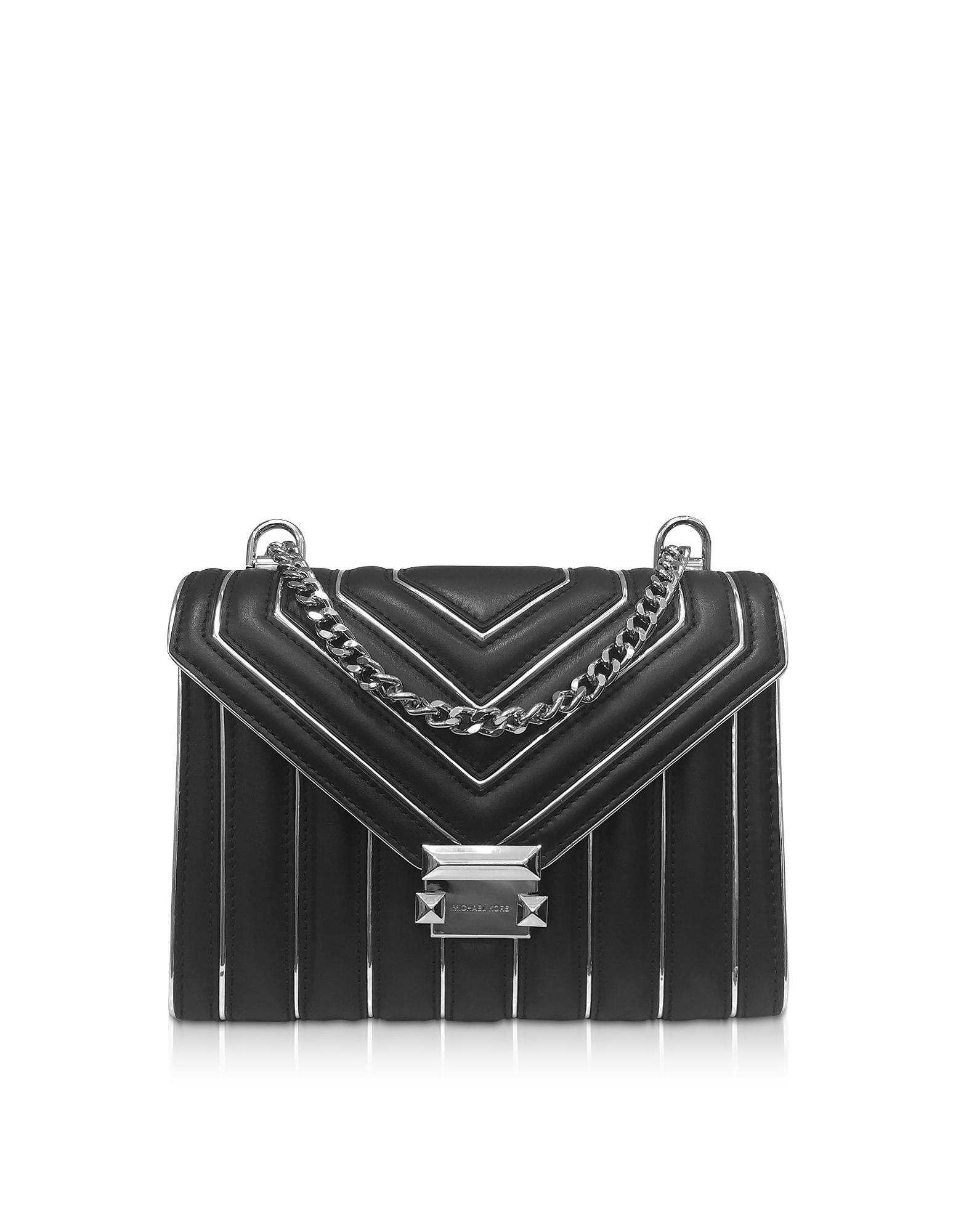b5656e7d5da8 Michael Kors. Women's Black & Silver Whitney Large Quilted Leather Shoulder  Bag