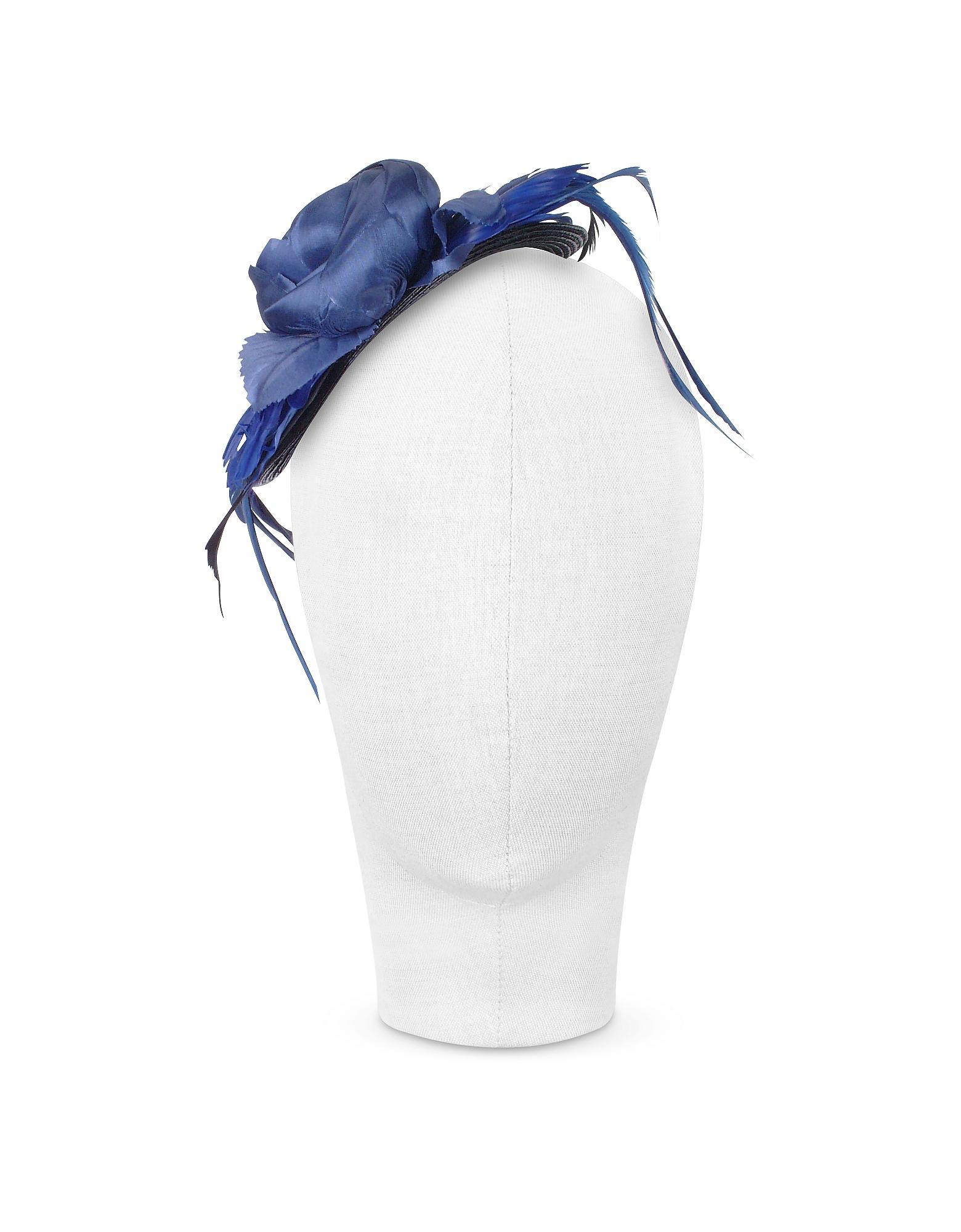 31551015e96 Nana  Alba - Night Blue Flower Feather Hat Disc in Blue - Lyst